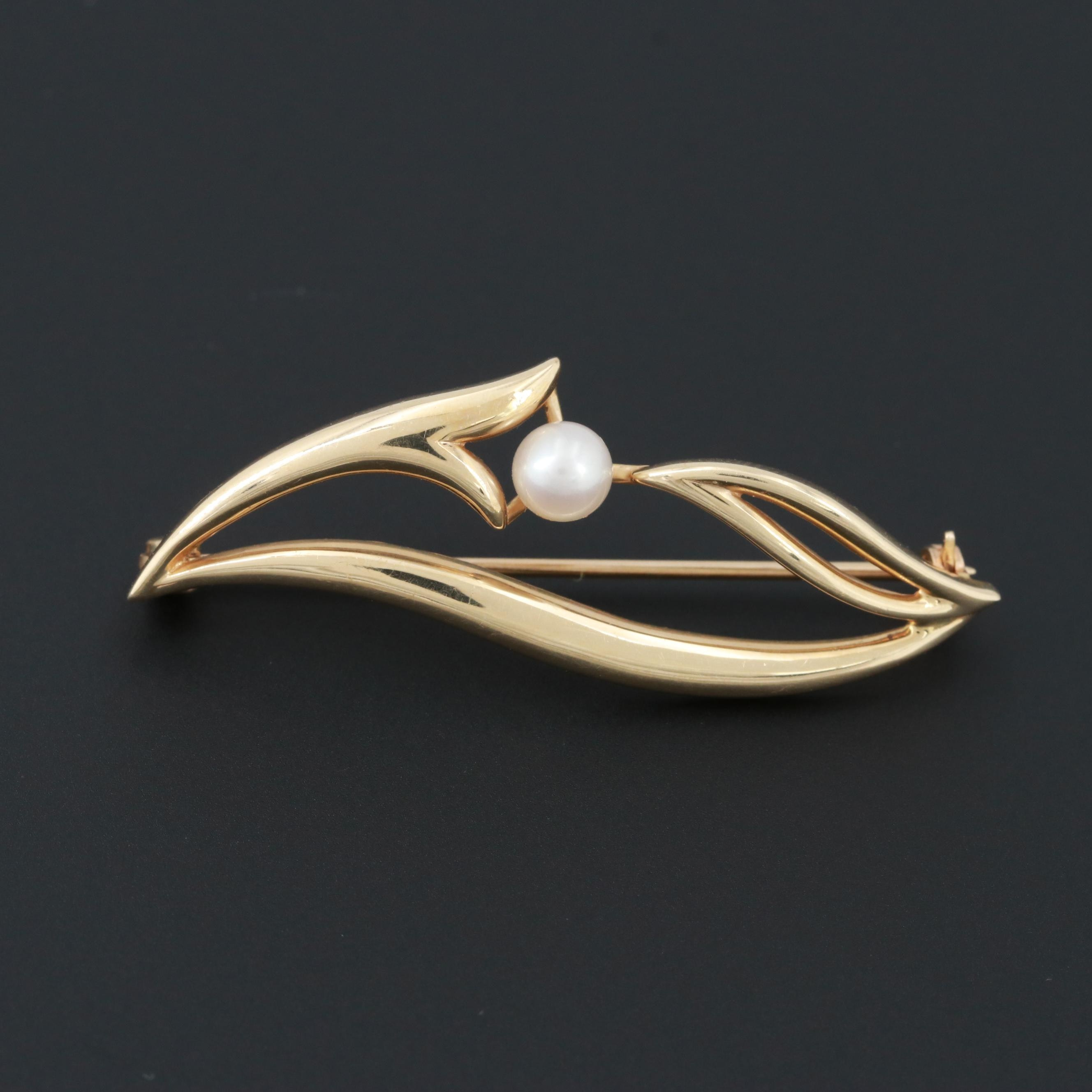 14K Yellow Gold Cultured Pearl Openwork Brooch