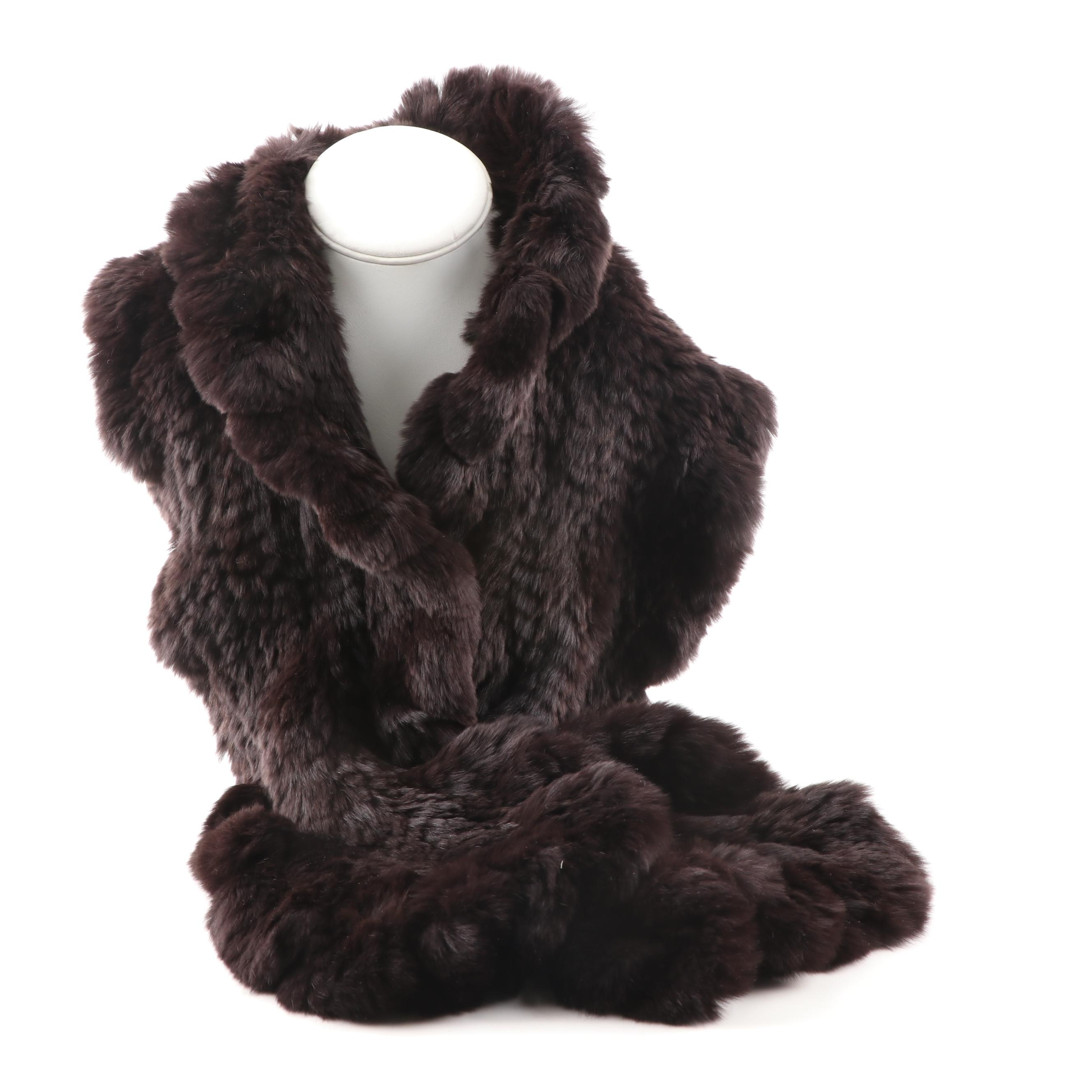 Women's Trilogy Collections Knitted Sheared Rabbit Scarf