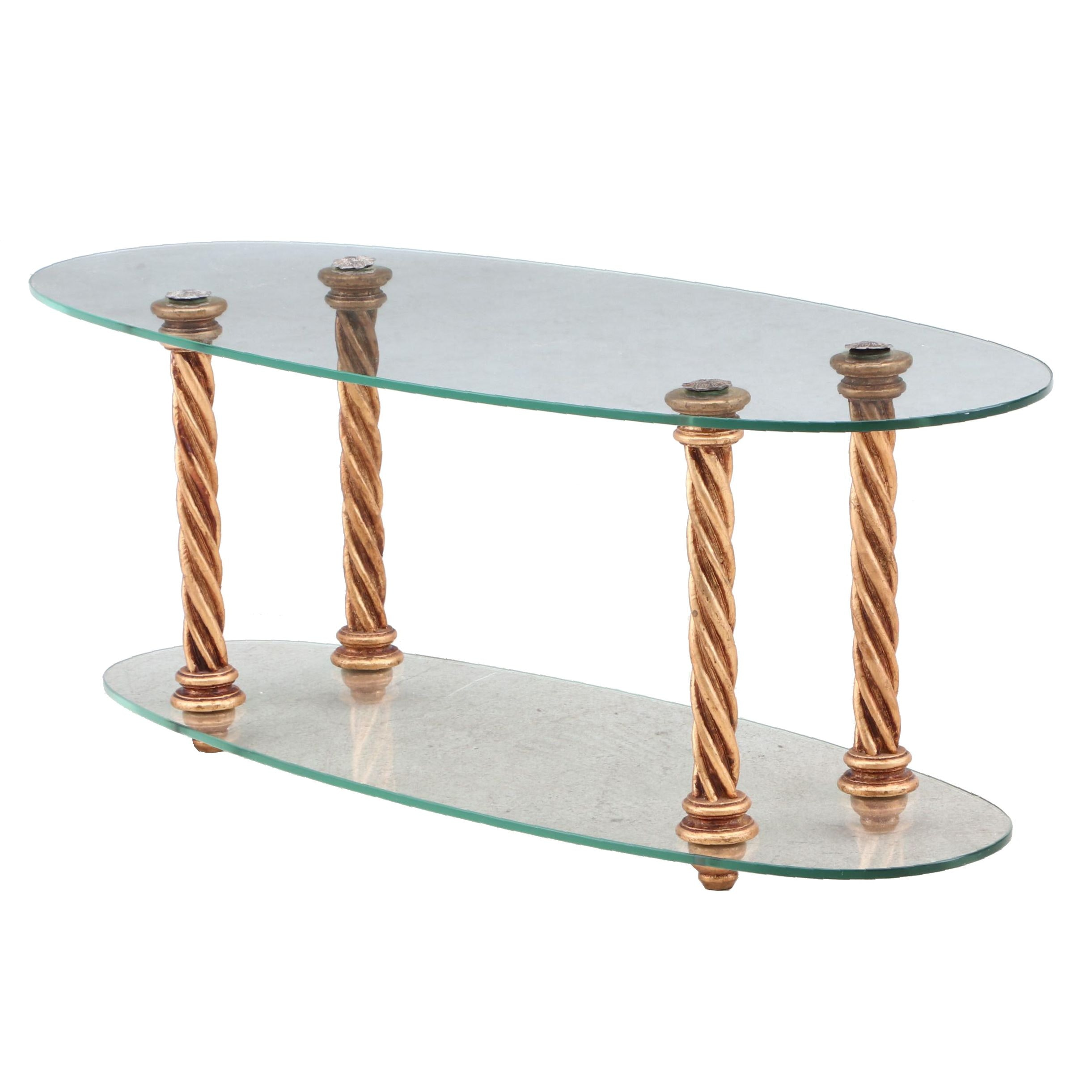 Contemporary Glass and Gold Tone Coffee Table