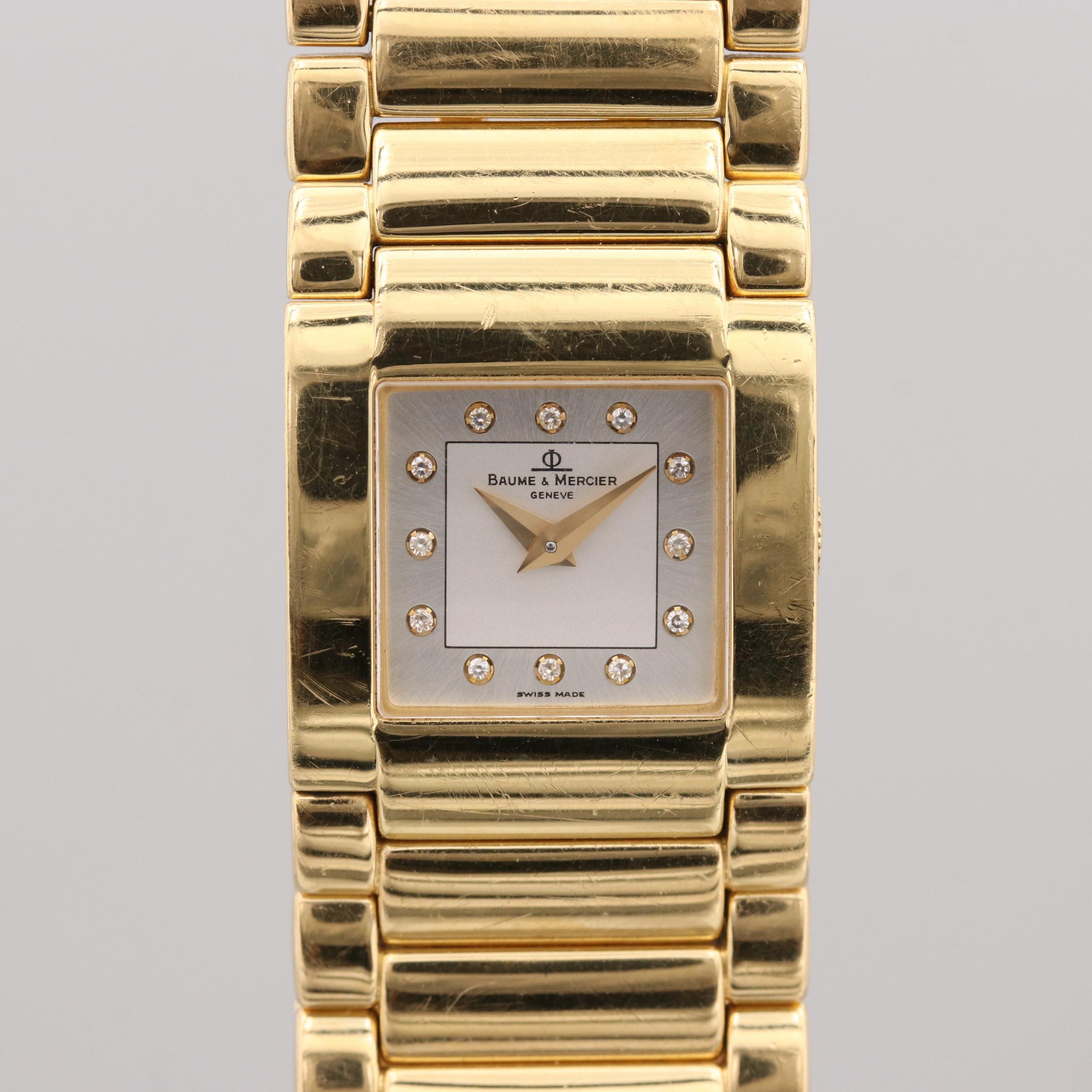 Baume & Mercier Riviera 18K Yellow Gold Diamond Quartz Wristwatch