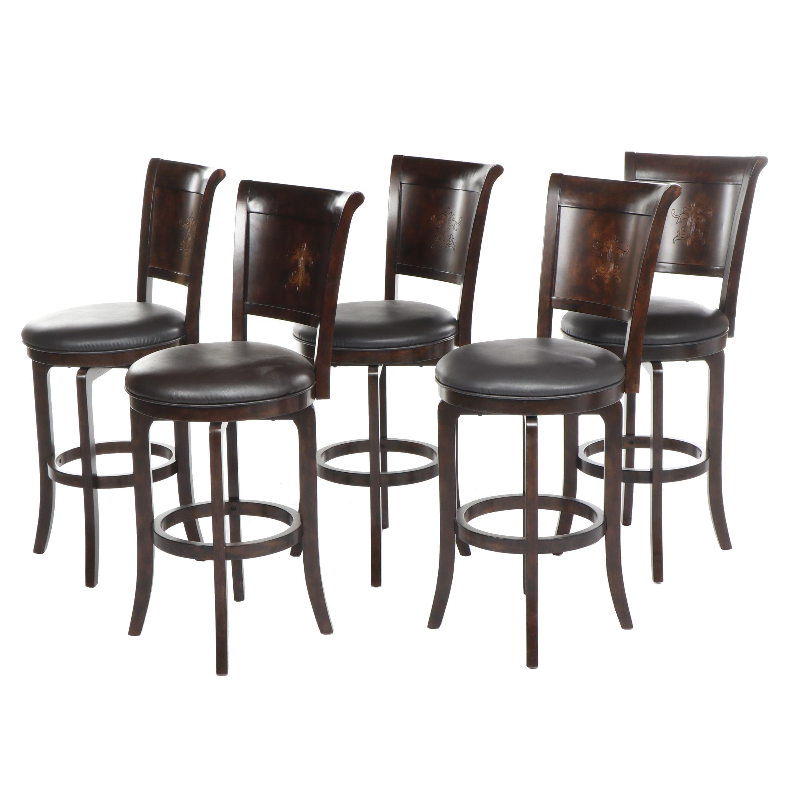 Contemporary Hillsdale Furniture Swivel Seat Stools with Faux Leather Upholstery