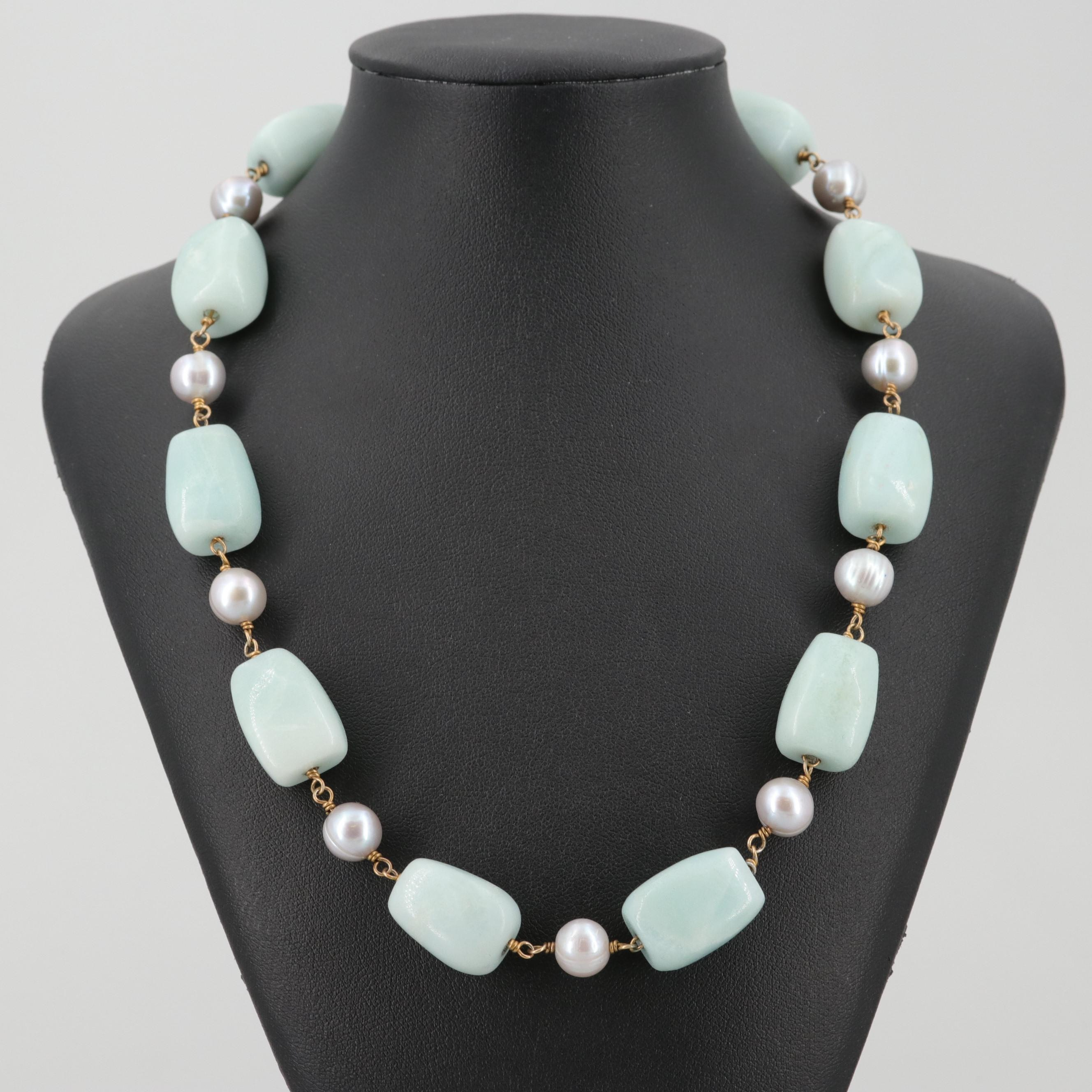 Gold Wash on Sterling Silver Quartz and Cultured Pearl Necklace