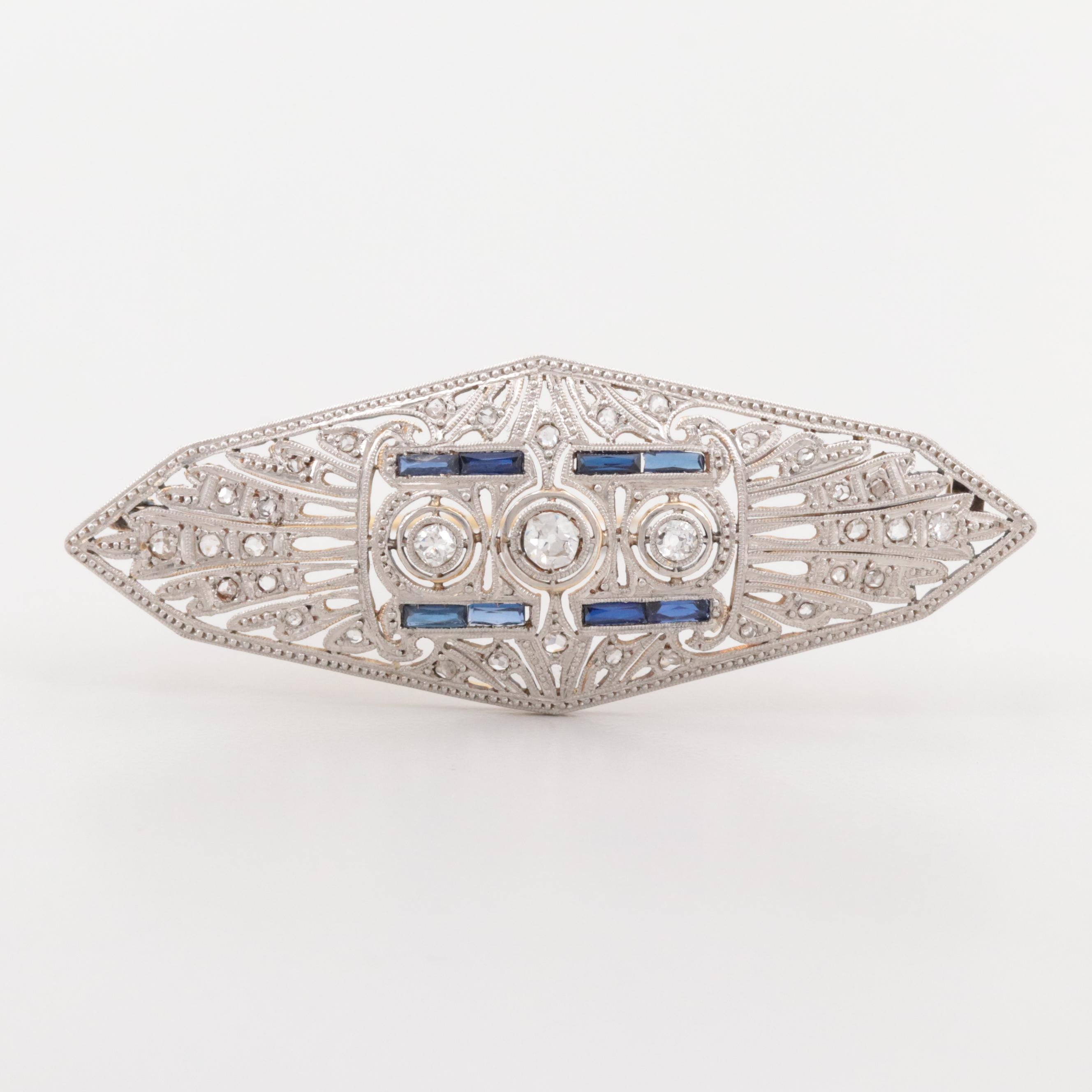 Early Art Deco 18K Yellow Gold Diamond and Synthetic Blue Sapphire Brooch