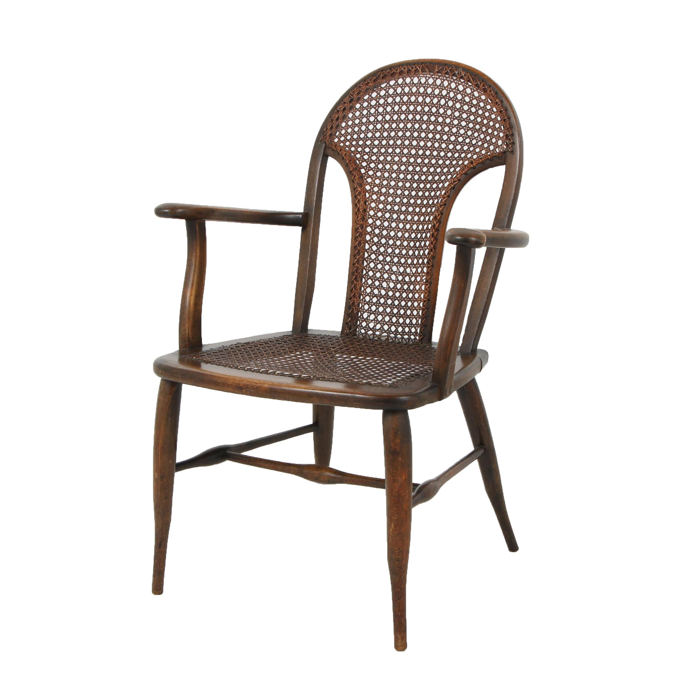 Queen Anne-Style Wooden Armchair with Caning