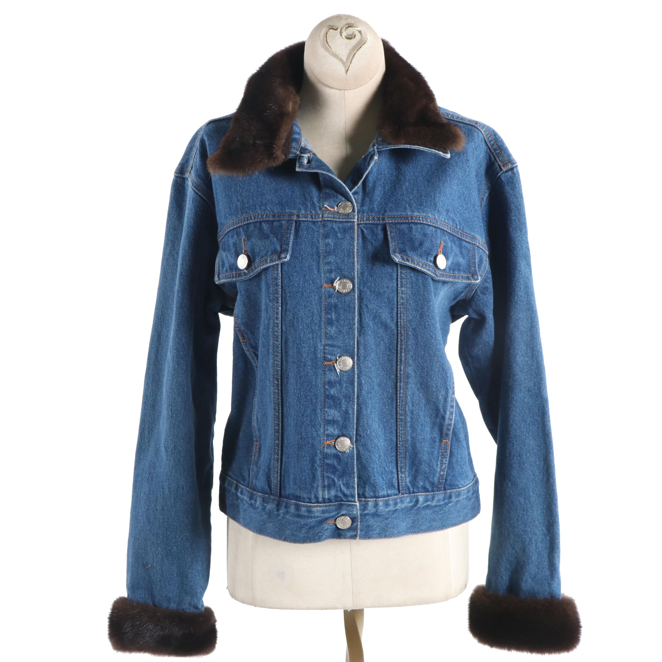 Women's Colors Denim Jacket With Mink Collar and Cuffs