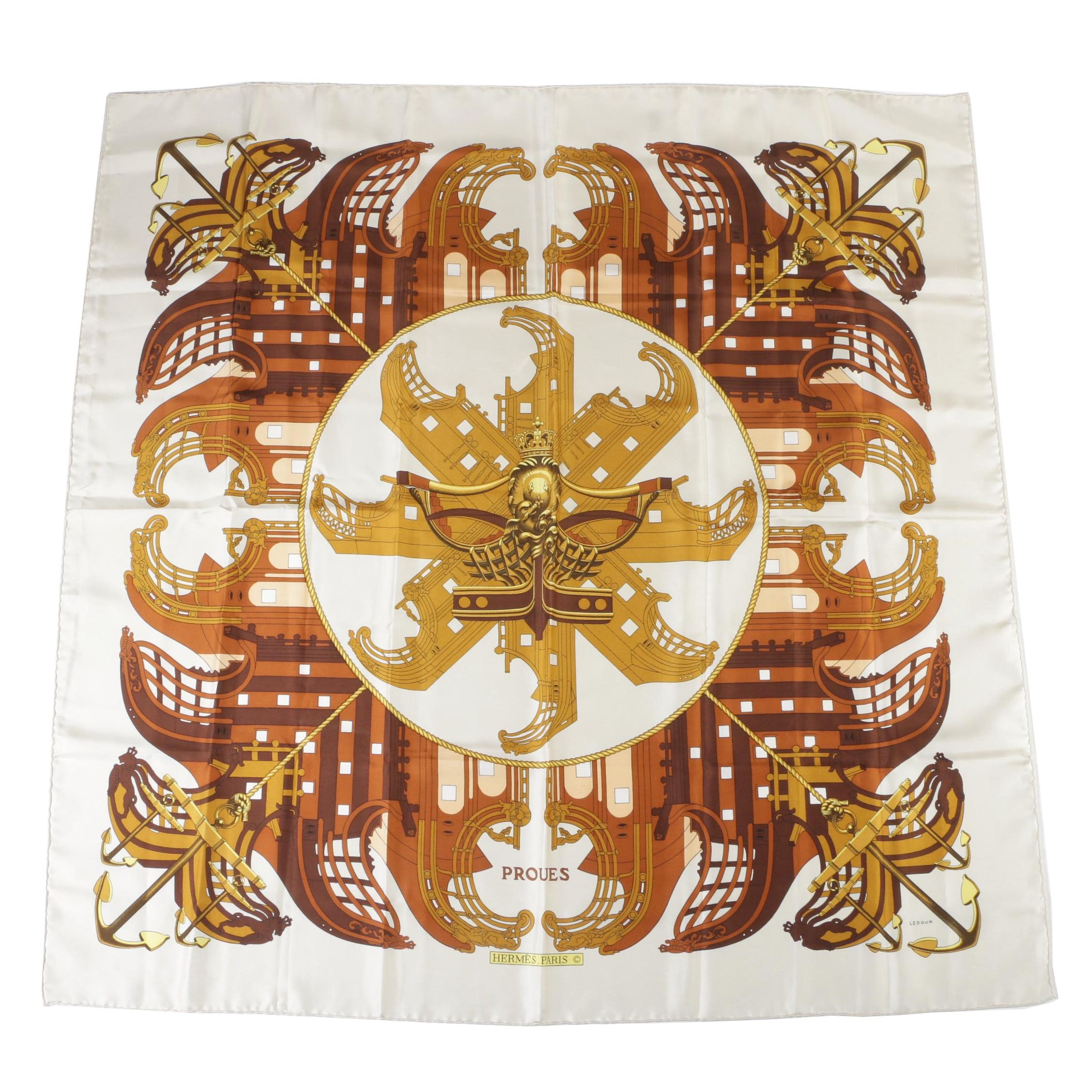 "Hermès of Paris Silk ""Proues"" Scarf Designed by Philippe Ledoux"