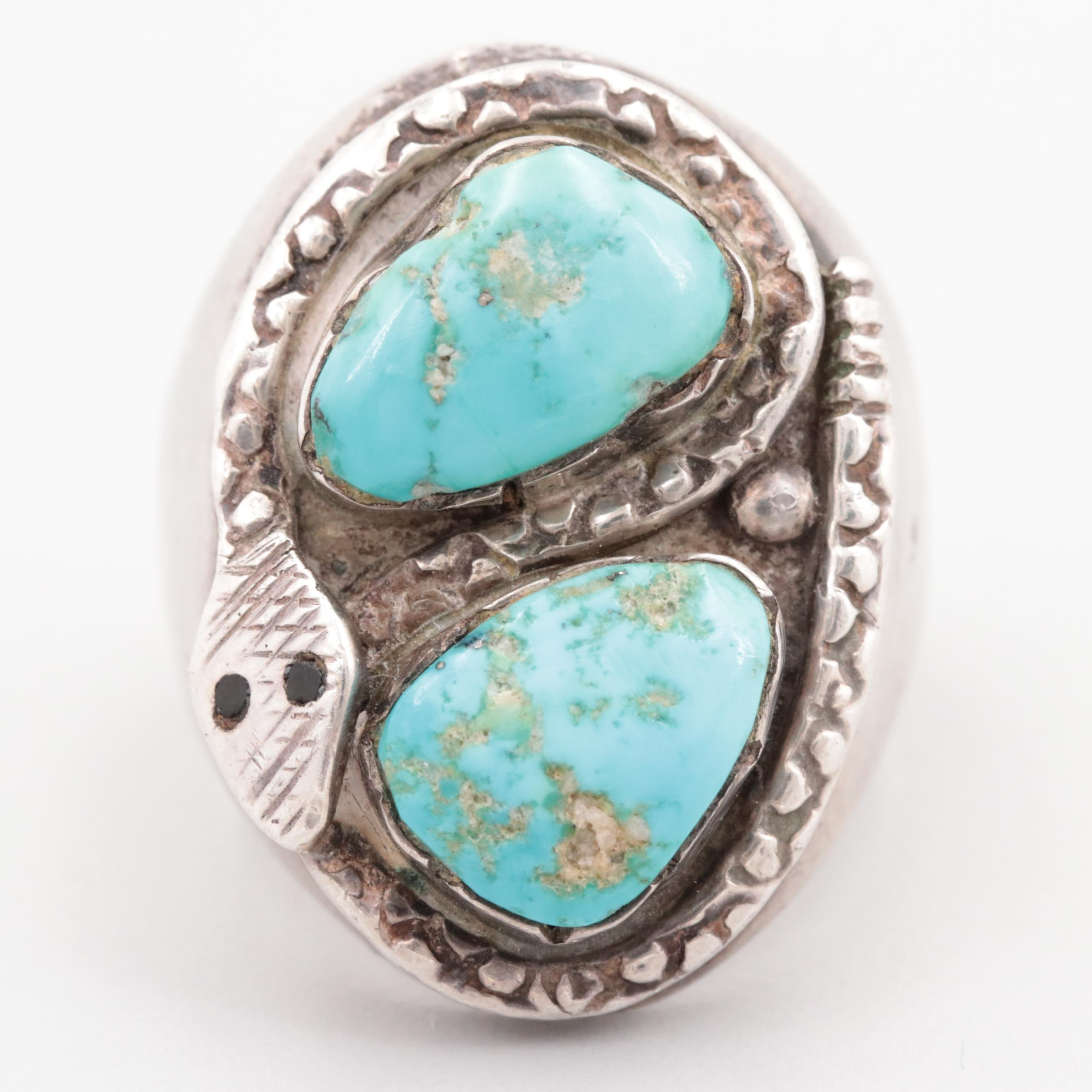 Sterling Silver Turquoise and Black Resin Snake Ring