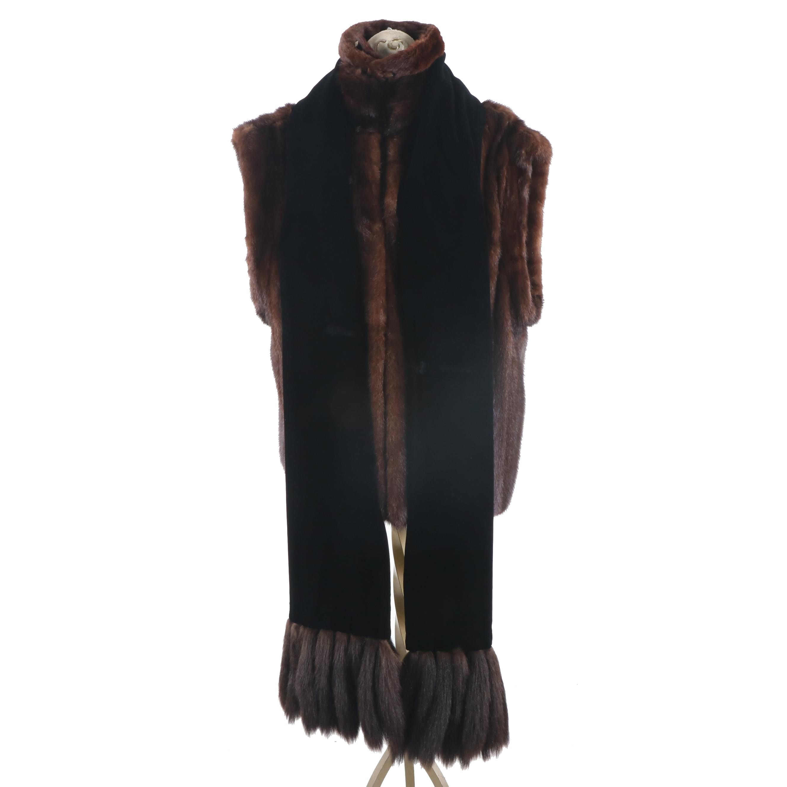 Women's Mink Vest, Velvet Mink Tail Shawl and Mink Pelt Collar