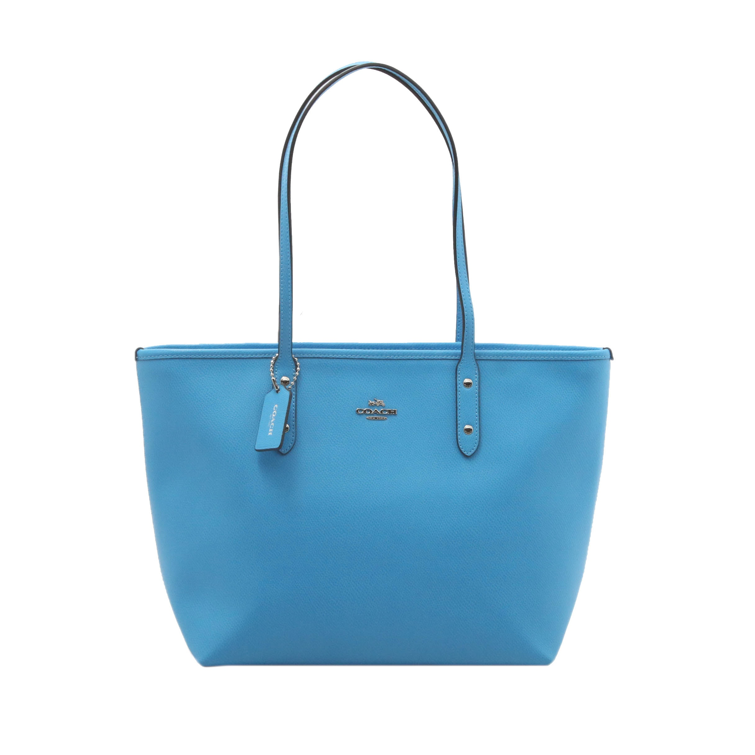 Coach Cerulean Pebbled Faux Leather Tote Bag