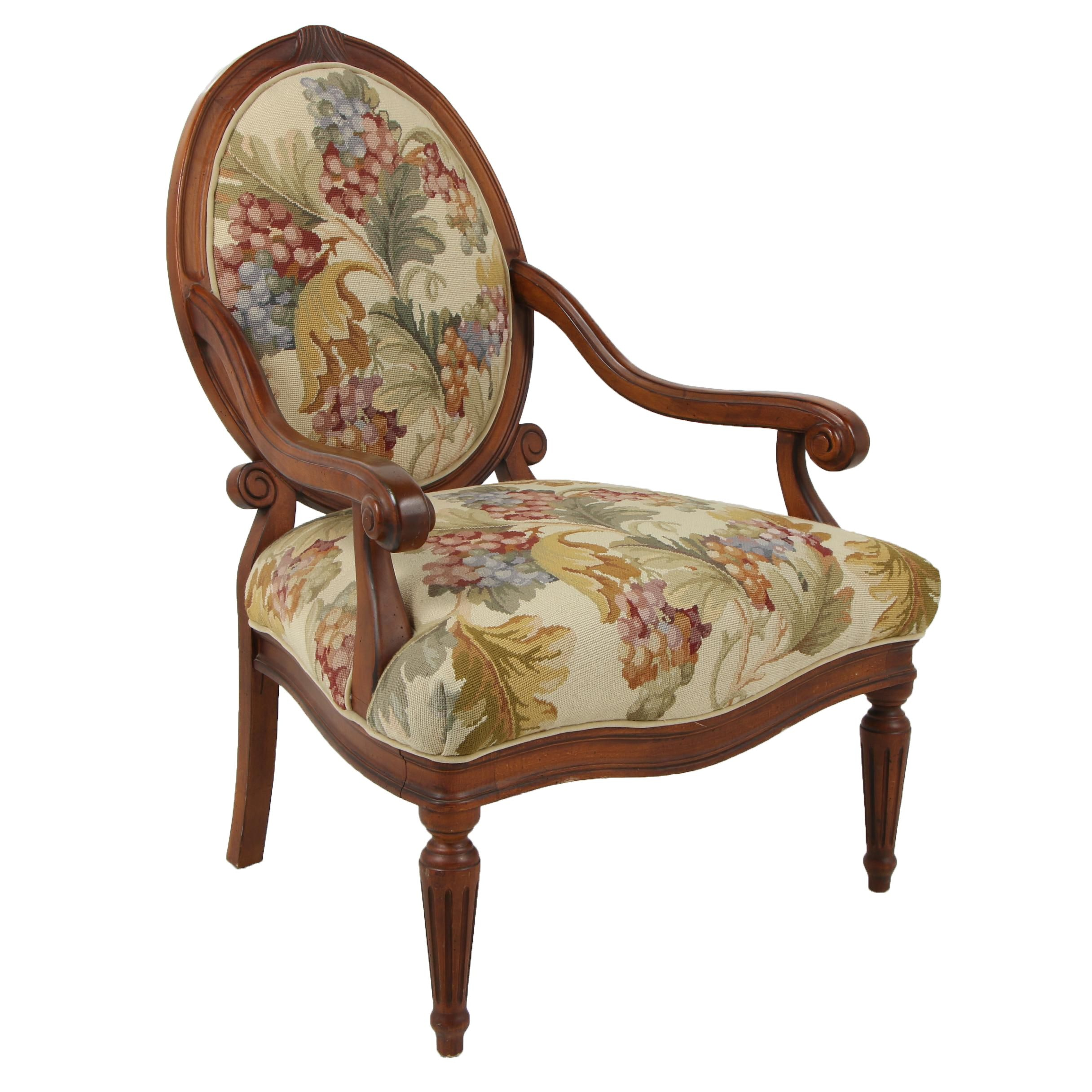 Louis XVI Needlepoint Upholstered Armchair, Contemporary