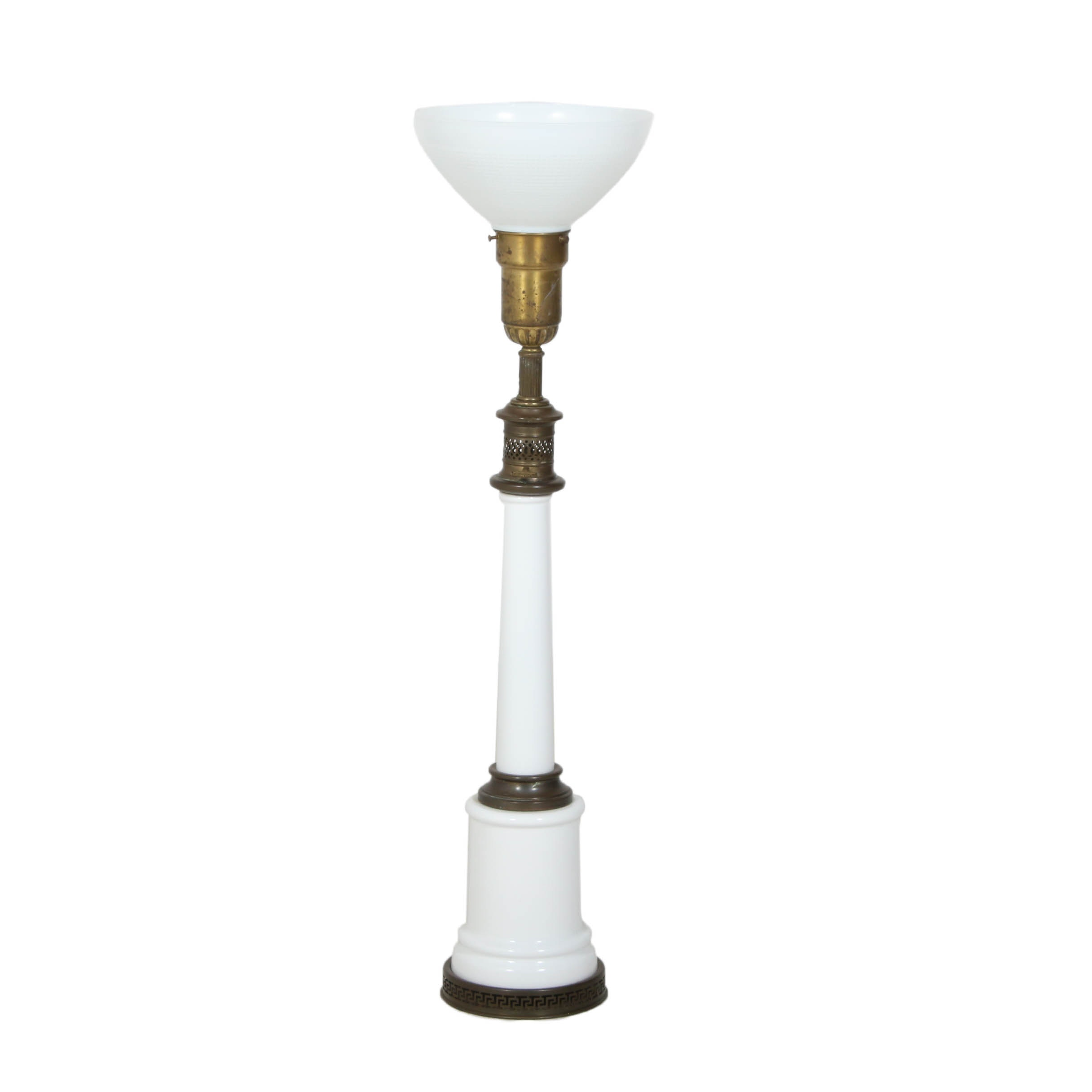 Brass, and Milk Glass Torchiere Table Lamp Attributed to Stiffel