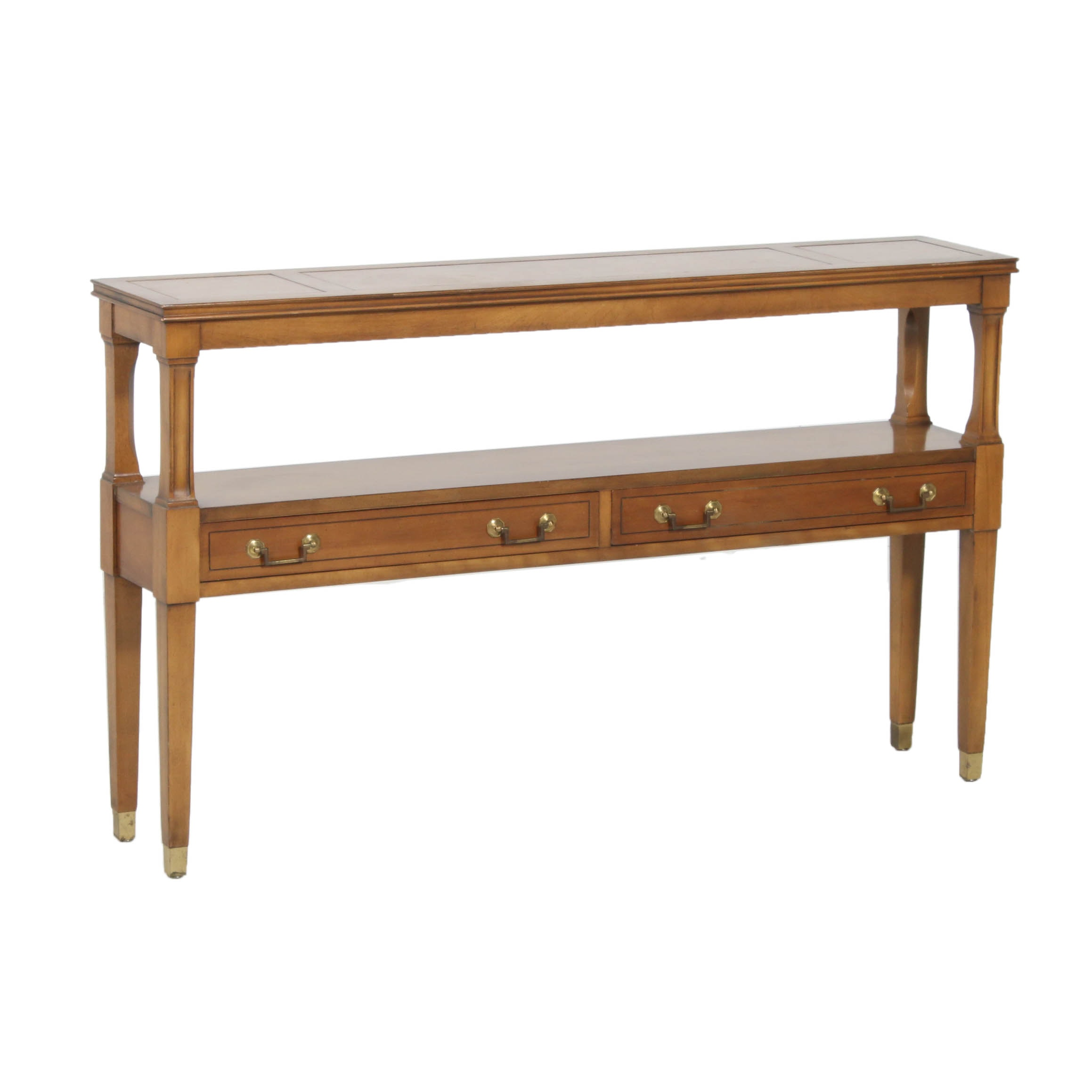 Vintage Leather Top Wooden Console Table
