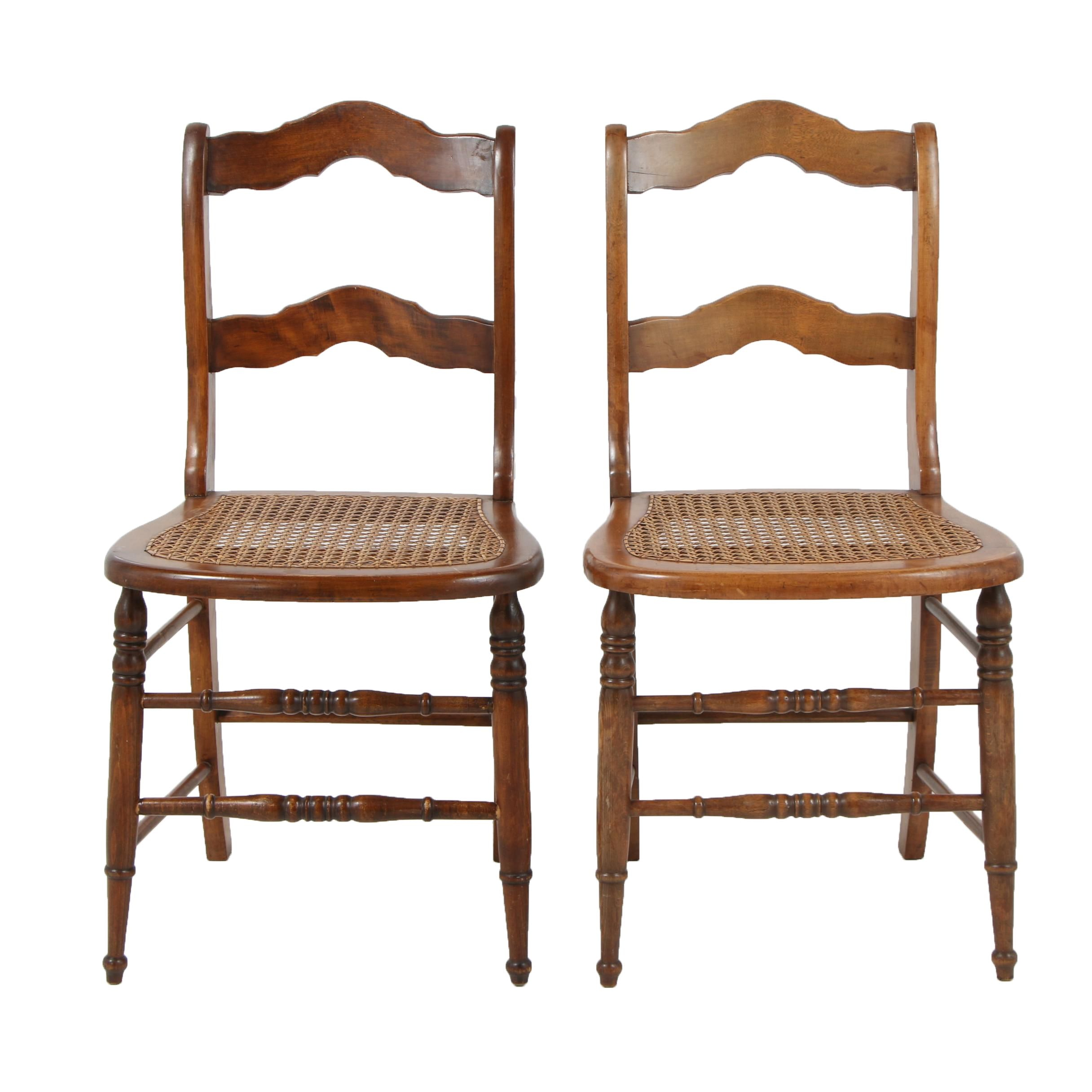 Maple Ladder Back Side Chairs with Cane Seats
