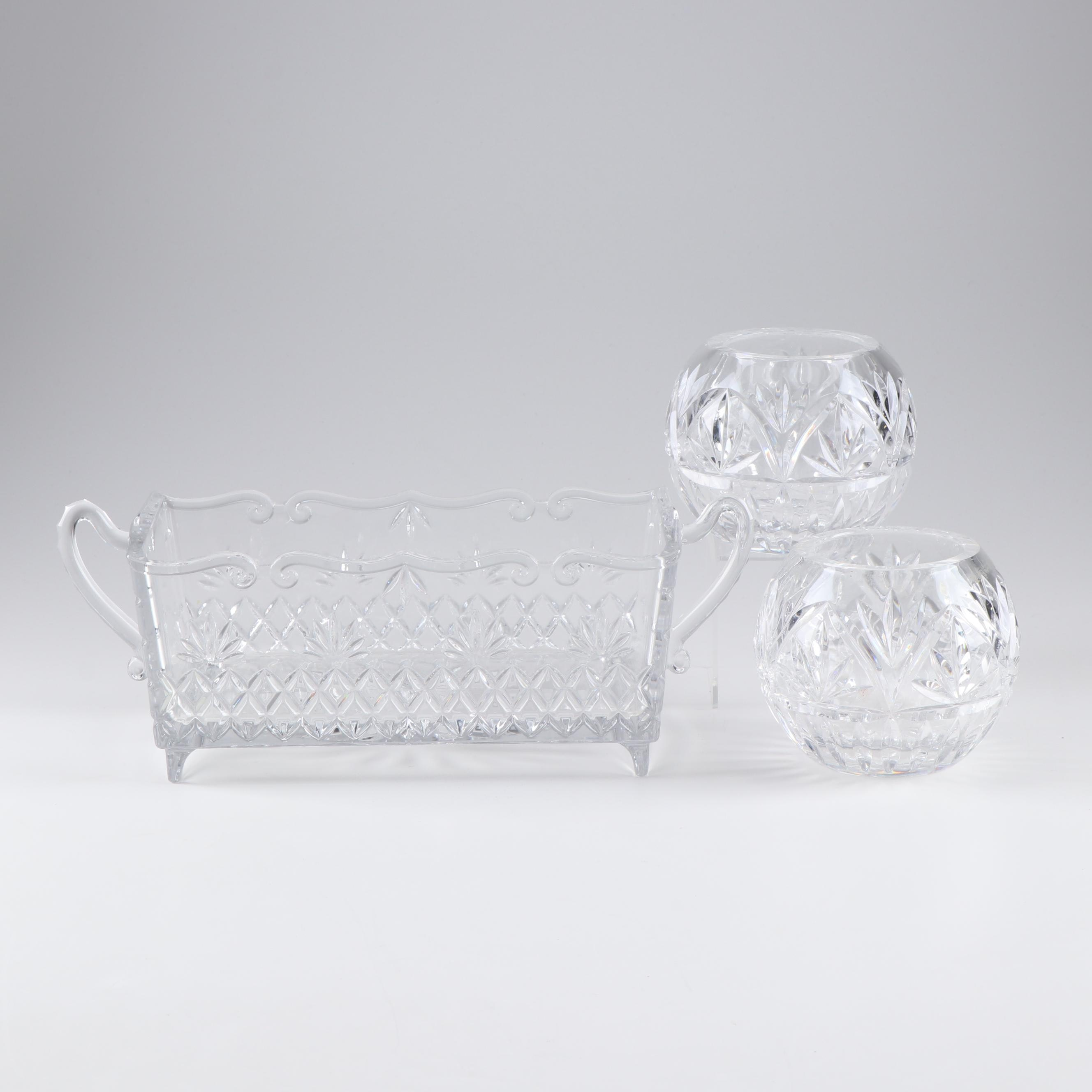 Crystal Bowl and Candle-holders Featuring Shannon Crystal