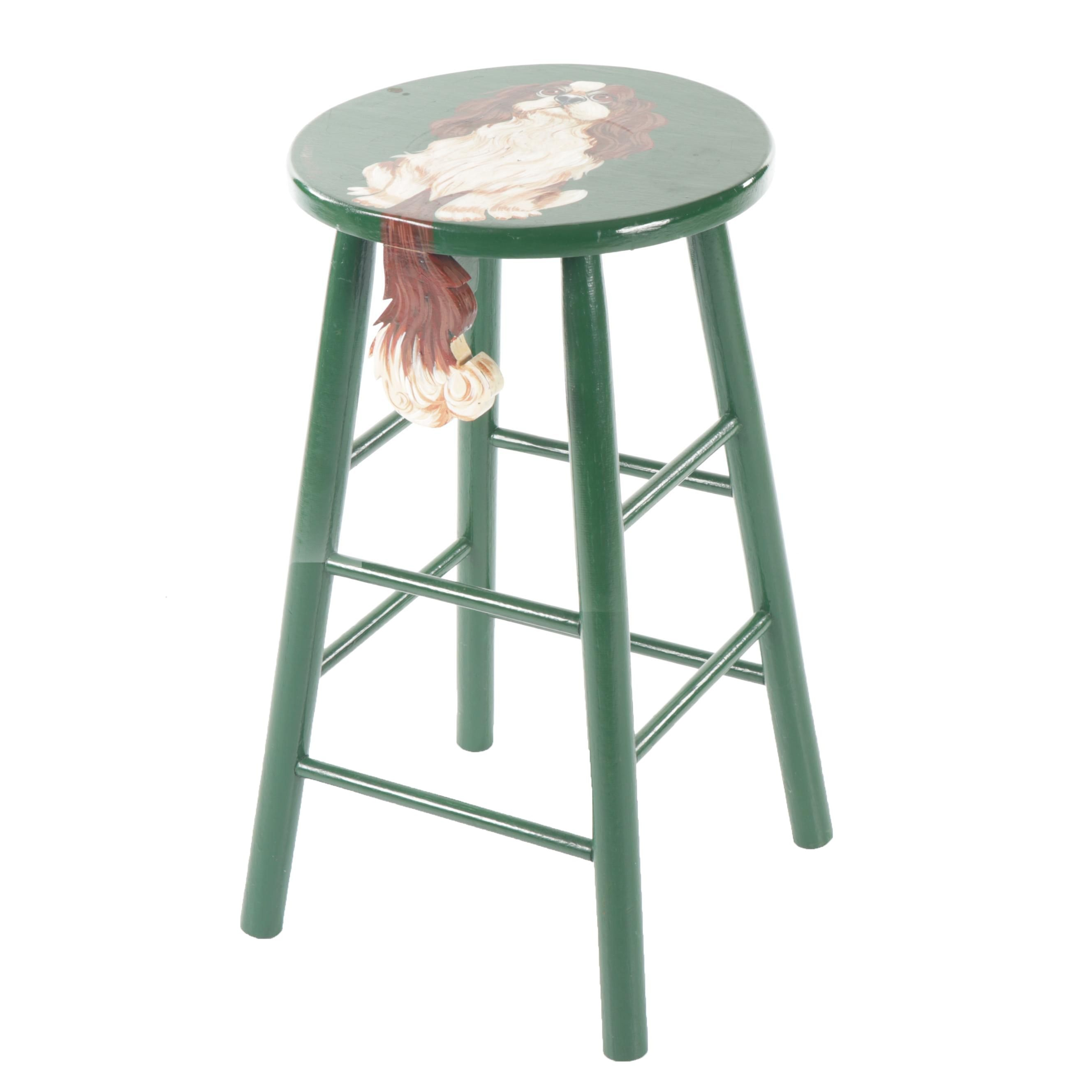 F. Hauserman Cavalier King Charles Painted Stool