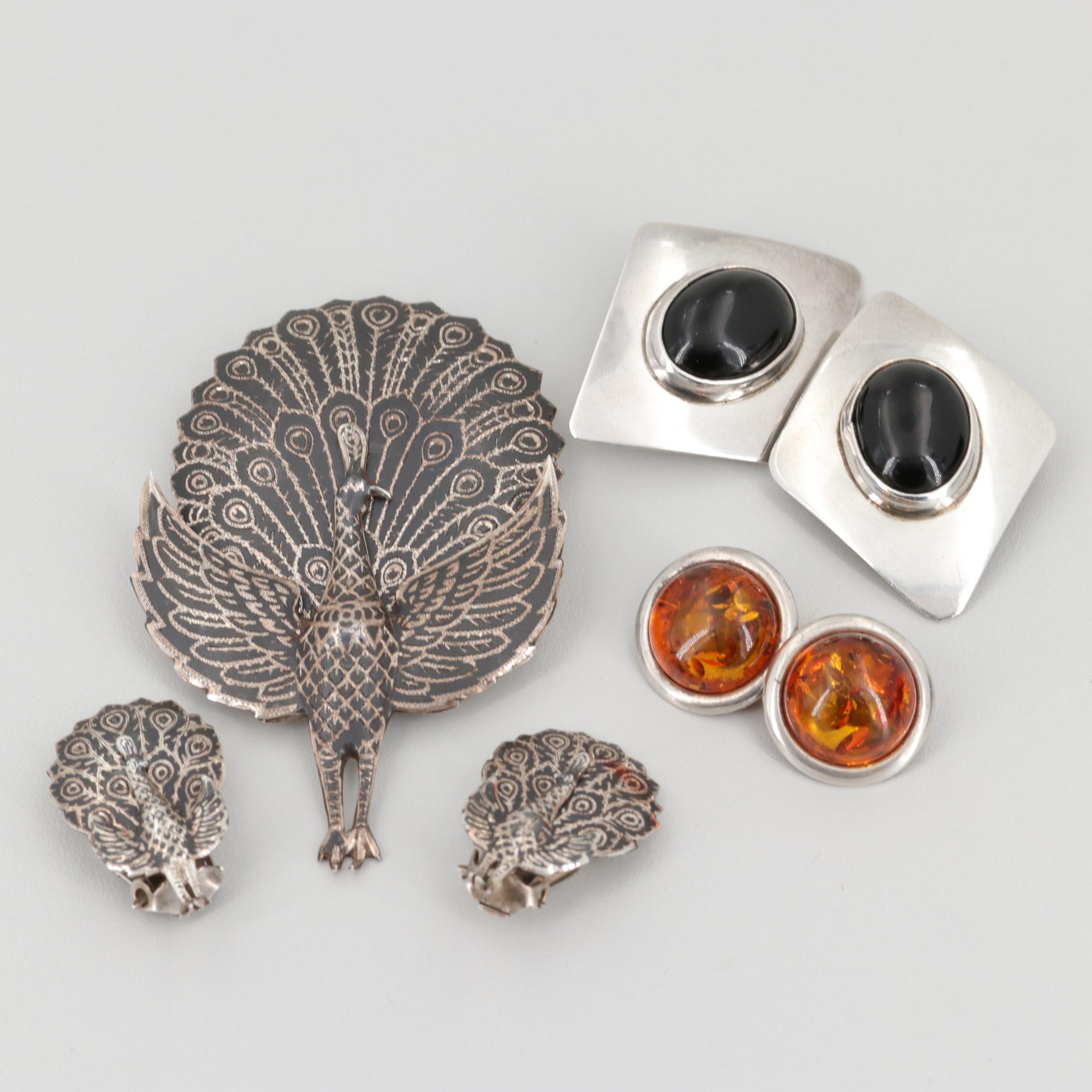 Sterling Silver Amber and Obsidian Earrings with Siam Niello Enamel Brooch