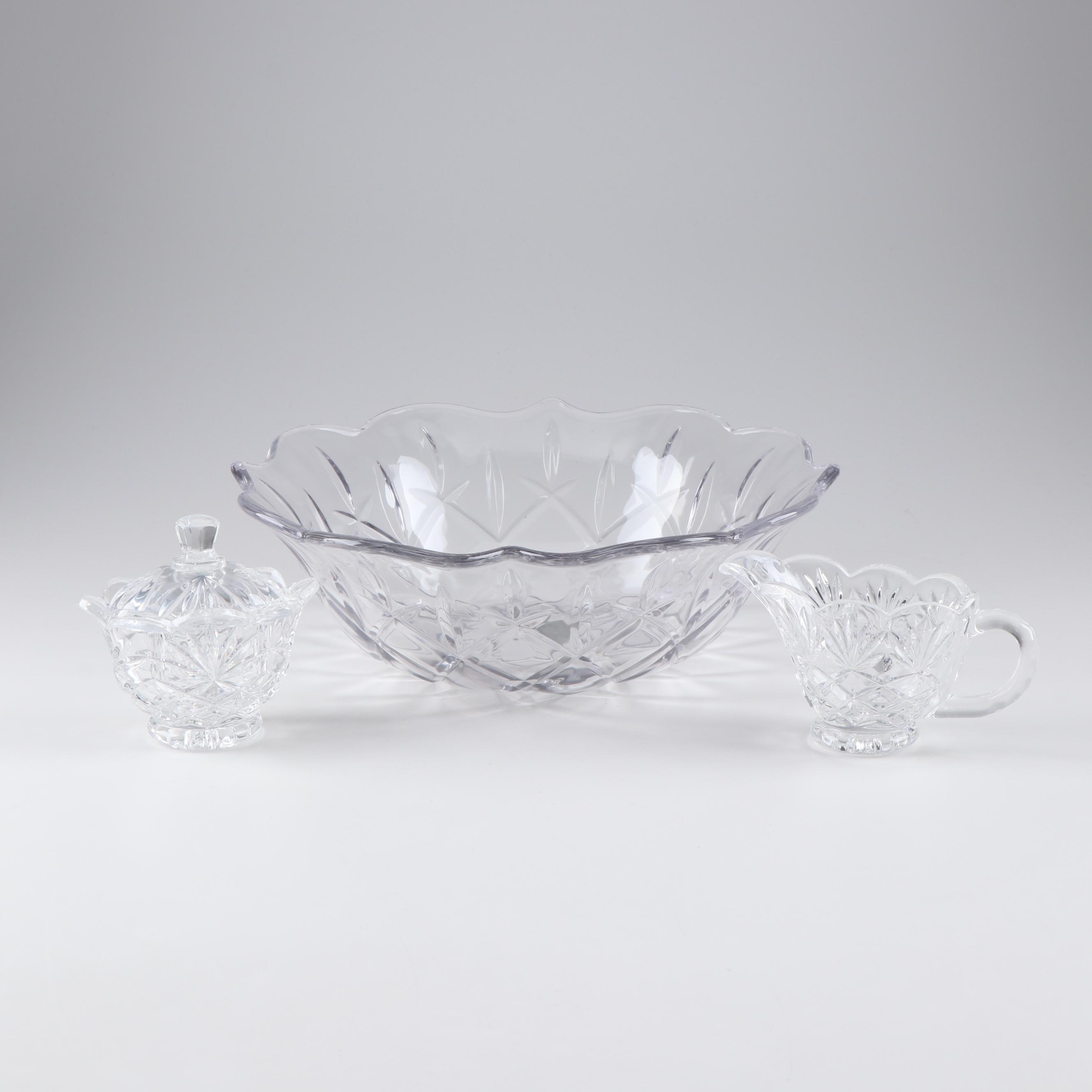 Contemporary Crystal Bowl with Cream and Sugar Including Godinger