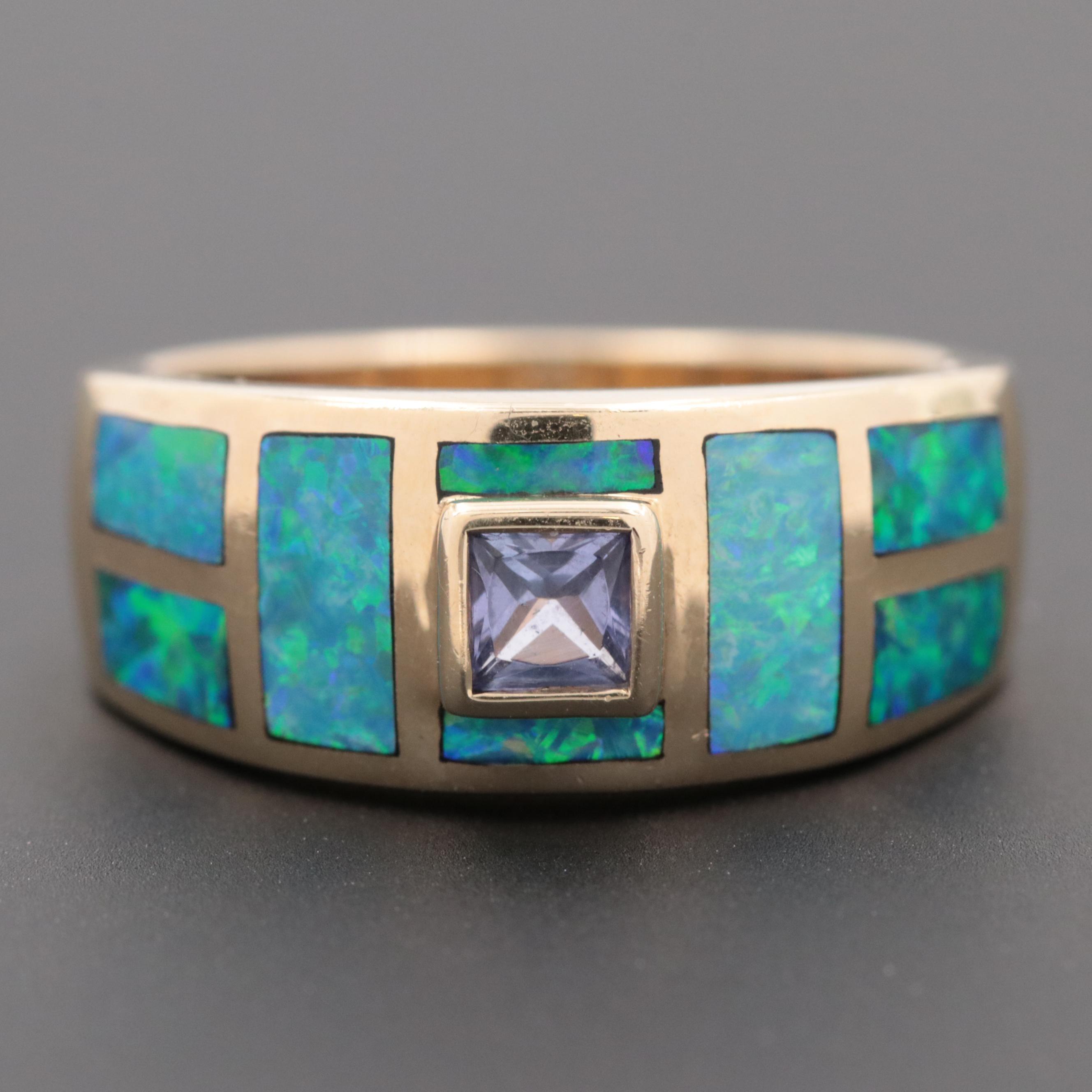 14K Yellow Gold Tanzanite and Opal Ring