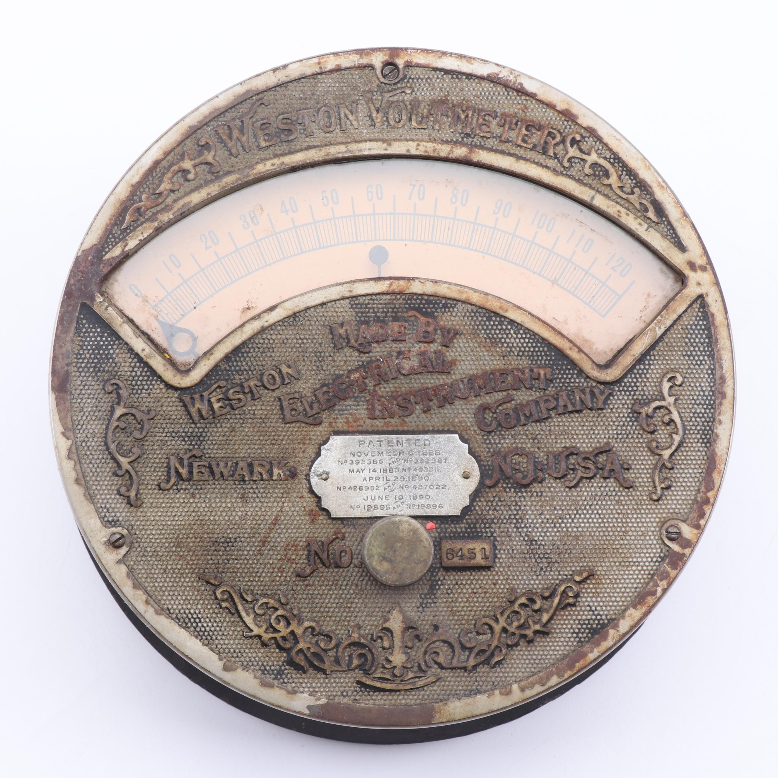 Weston Electrical Instrument Company Voltmeter, Late 19th/Early 20th Century