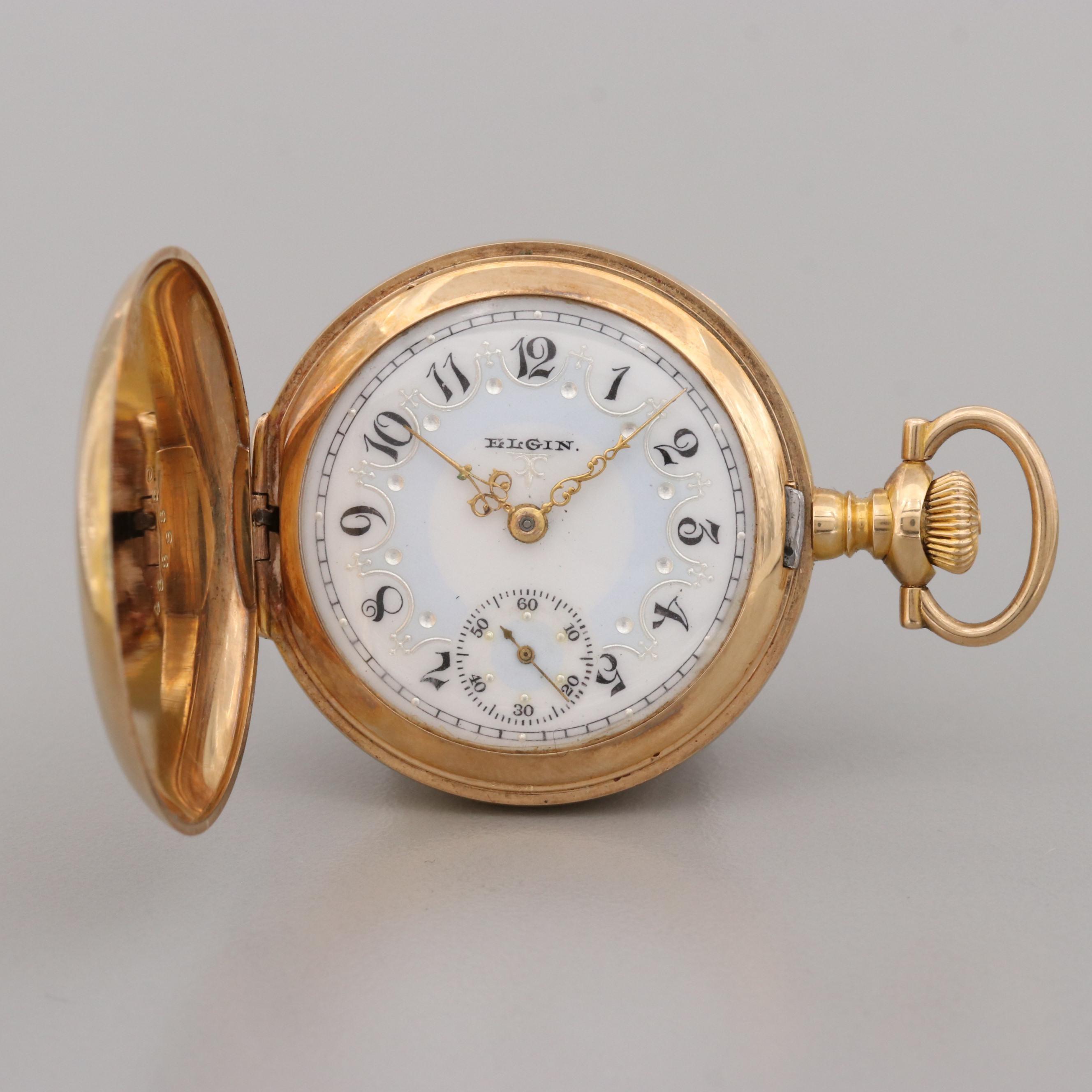 Elgin 14K Yellow Gold Hunting Case Pocket Watch, 1902