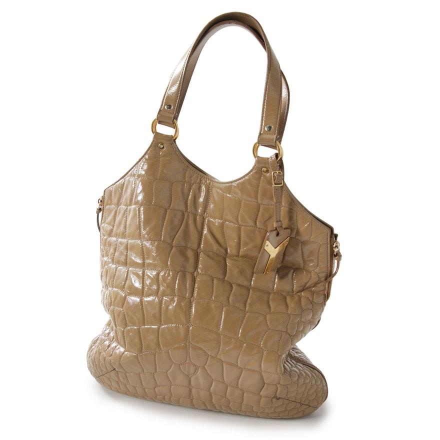 8c7c58ac5d8 Yves Saint Laurent Rive Gauche Croc Quilted Tan Patent Leather Tribute Tote