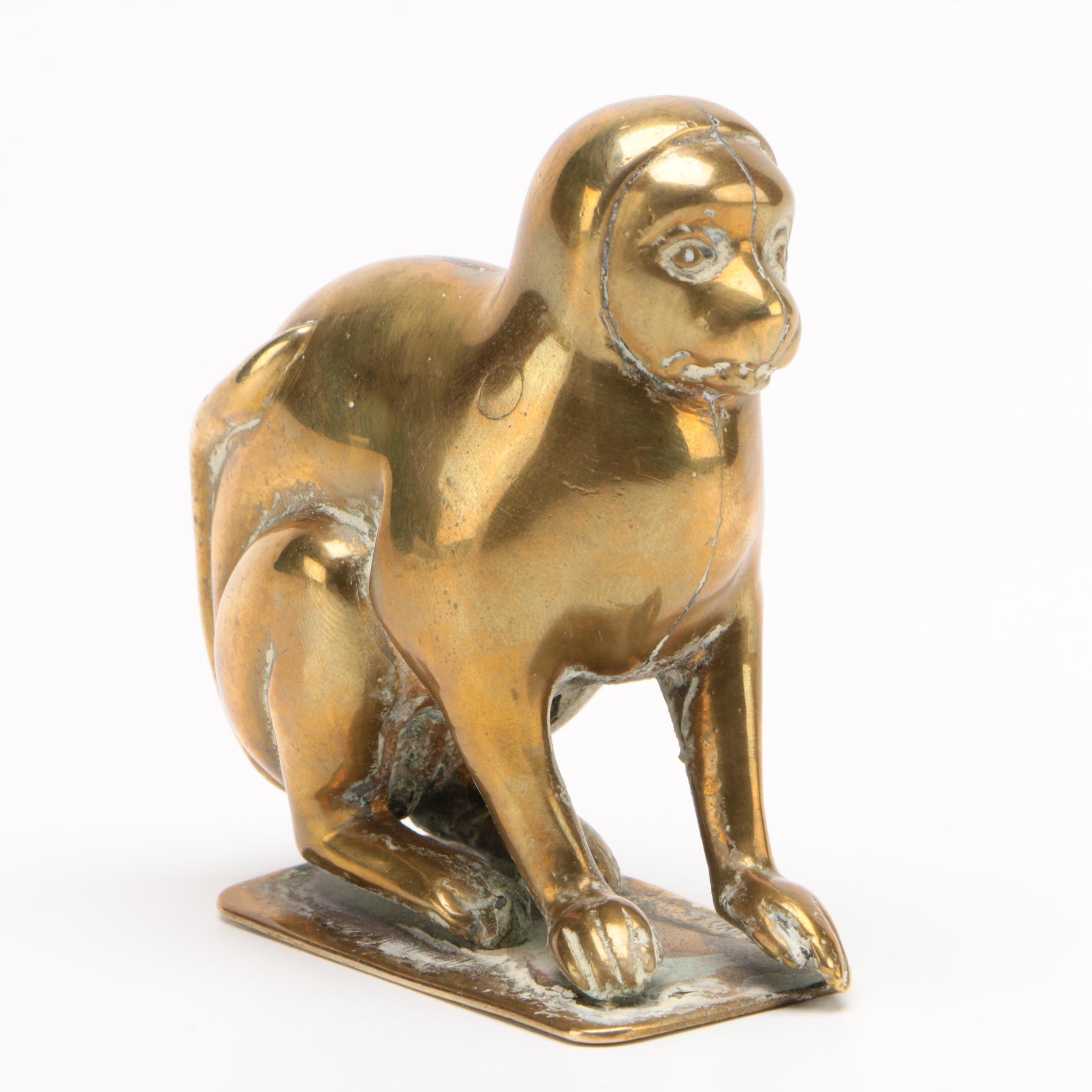 Patole Brass Monkey Figurine, 1930s