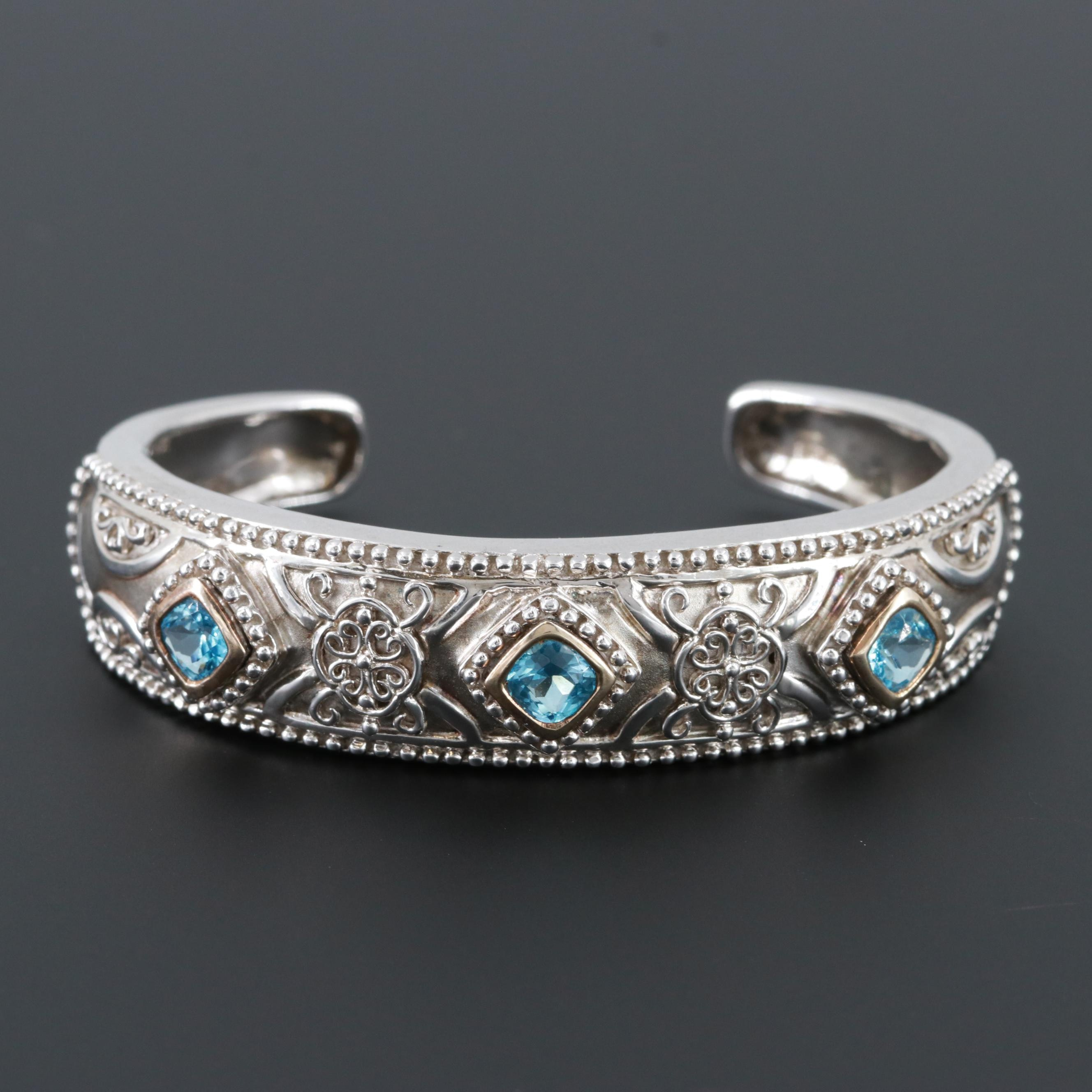 Sterling Silver Blue Topaz Cuff Bracelet with 14K White Gold Accents