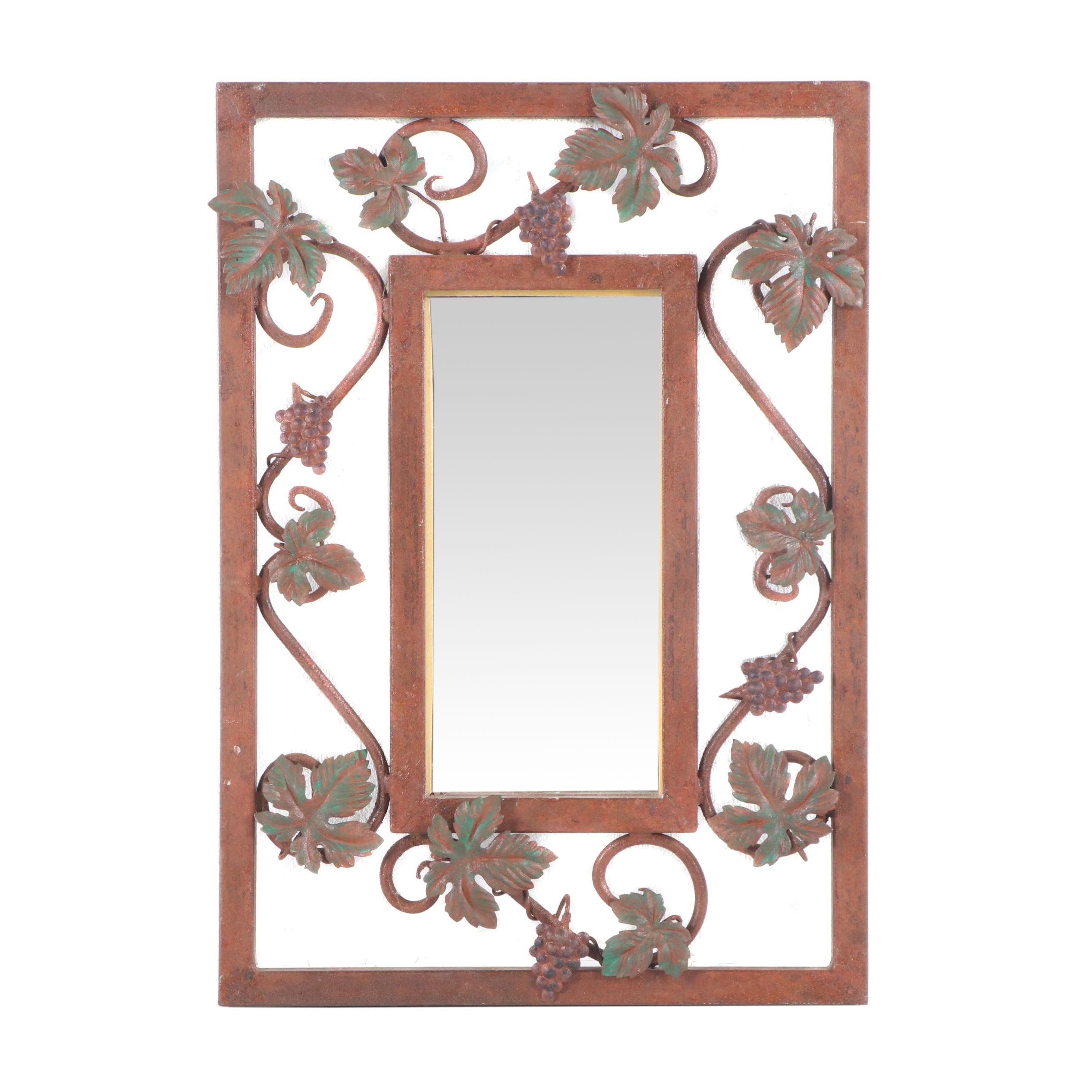 Wrought Metal Rectangular Grape Cluster Mirror