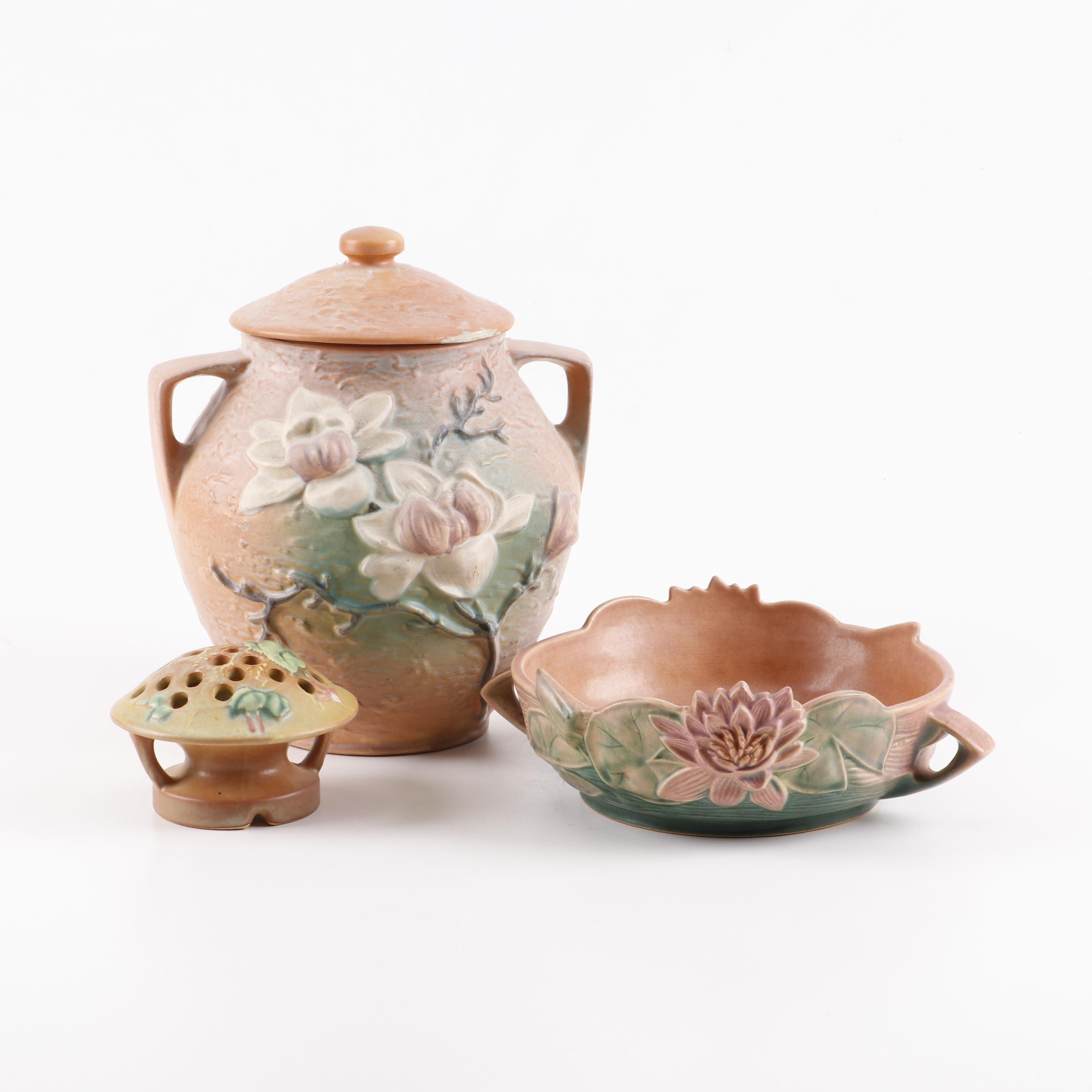 """Roseville """"Magnolia"""" Cookie Jar, """"Water Lily"""" Console Bowl and Flower Frog"""