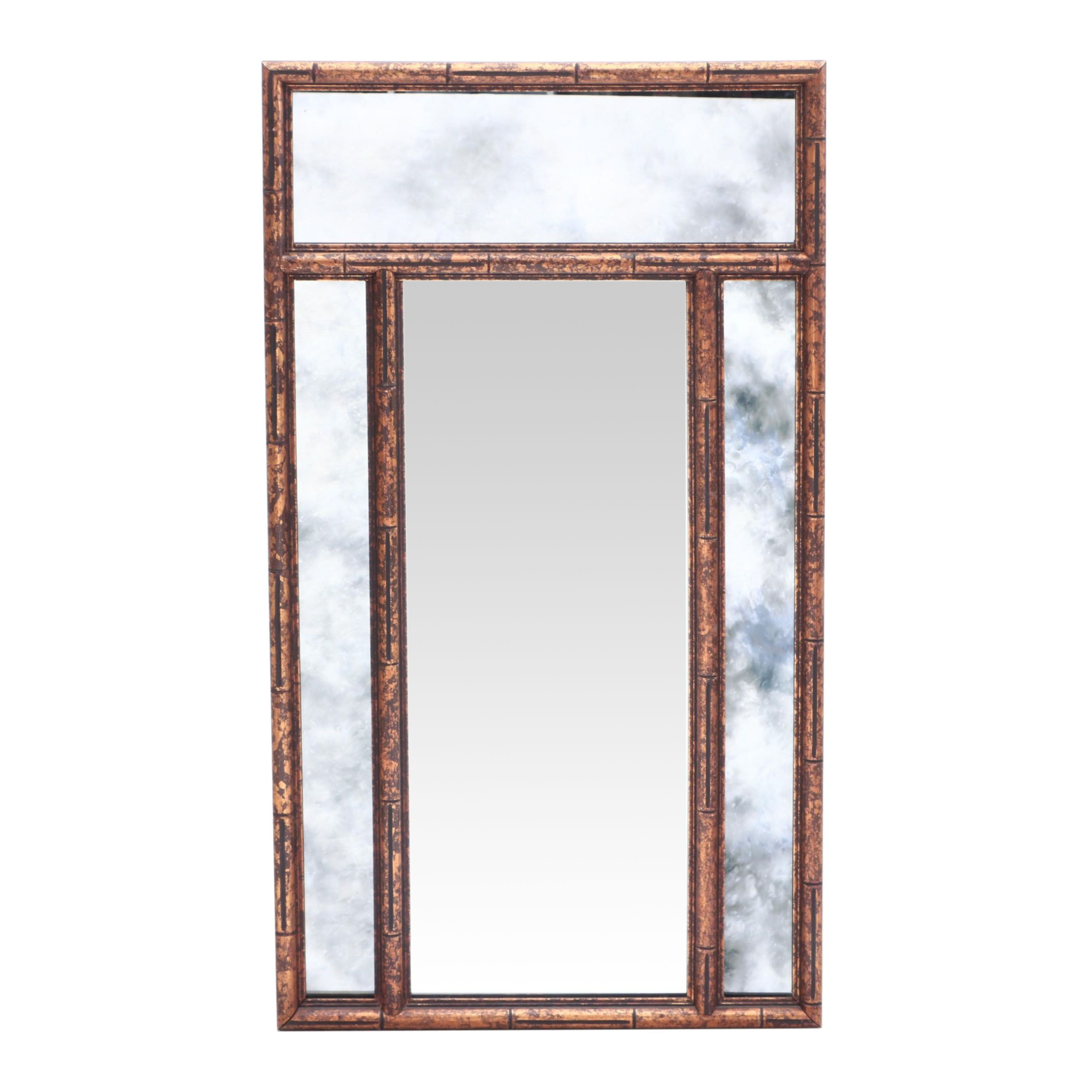 Gold Painted Bamboo Style Mirror