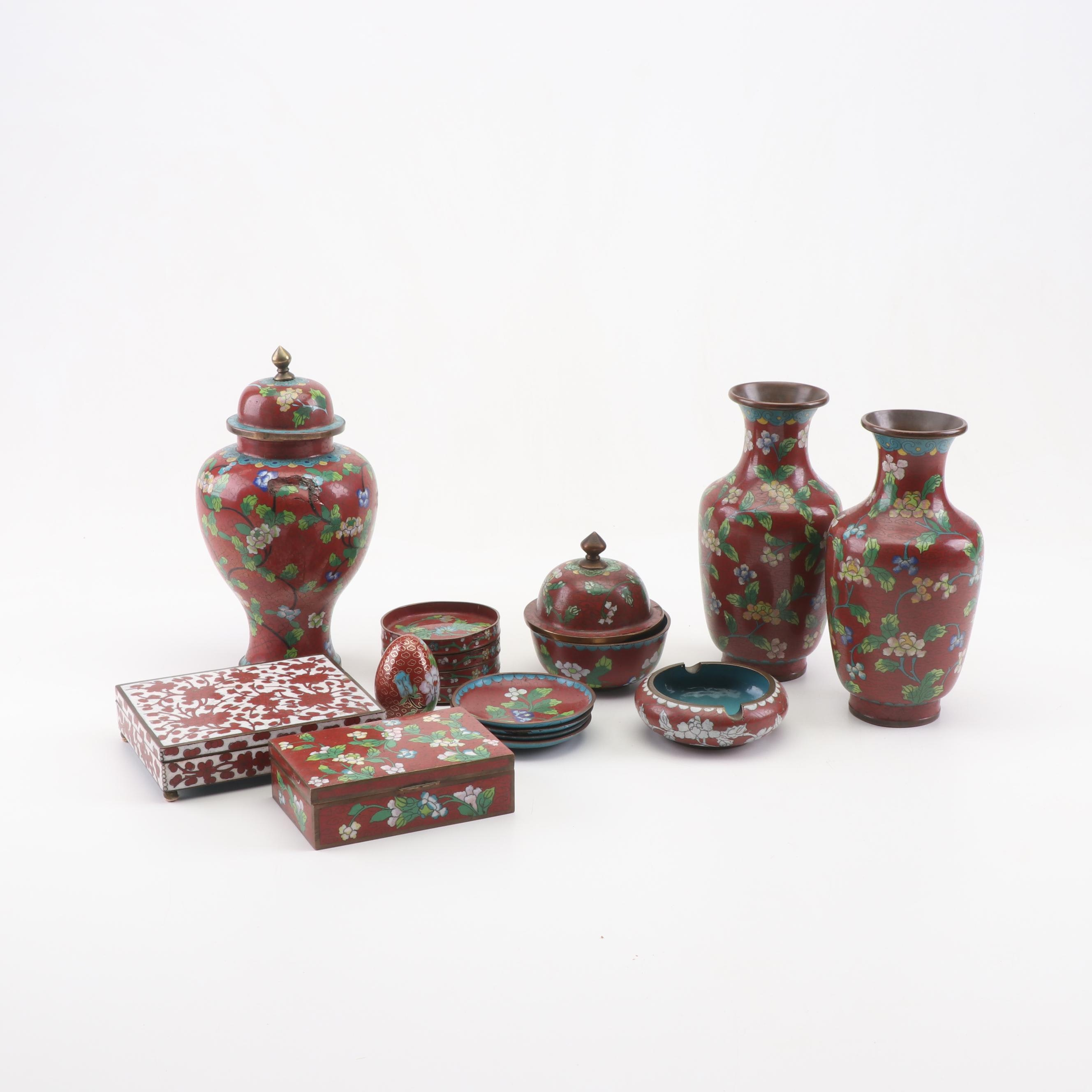 Chinese Cloisonné Decor with Ginger Jar, Vases, and Boxes