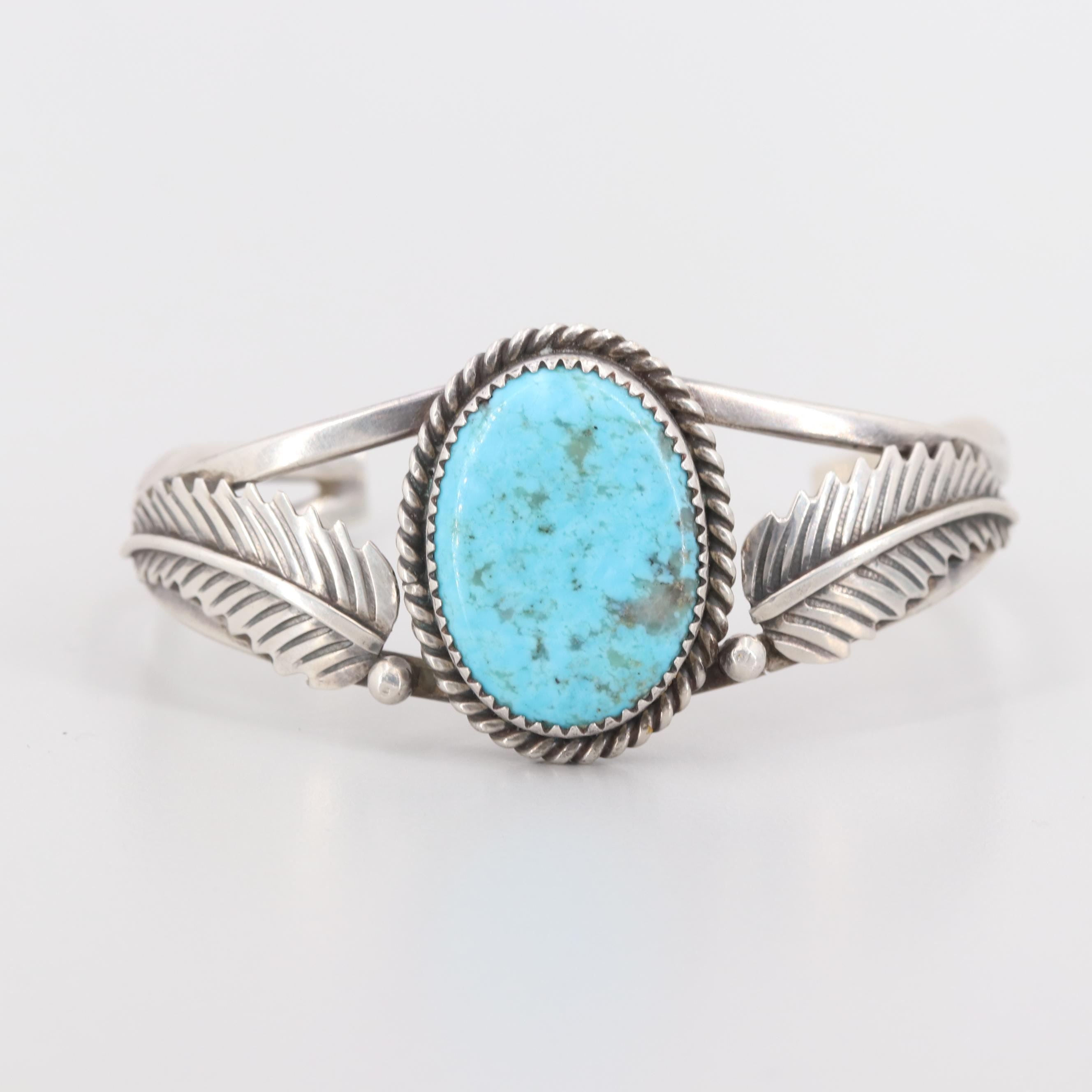 Alvin & Rose Boy Navajo Diné Sterling Silver Turquoise Cuff Bracelet