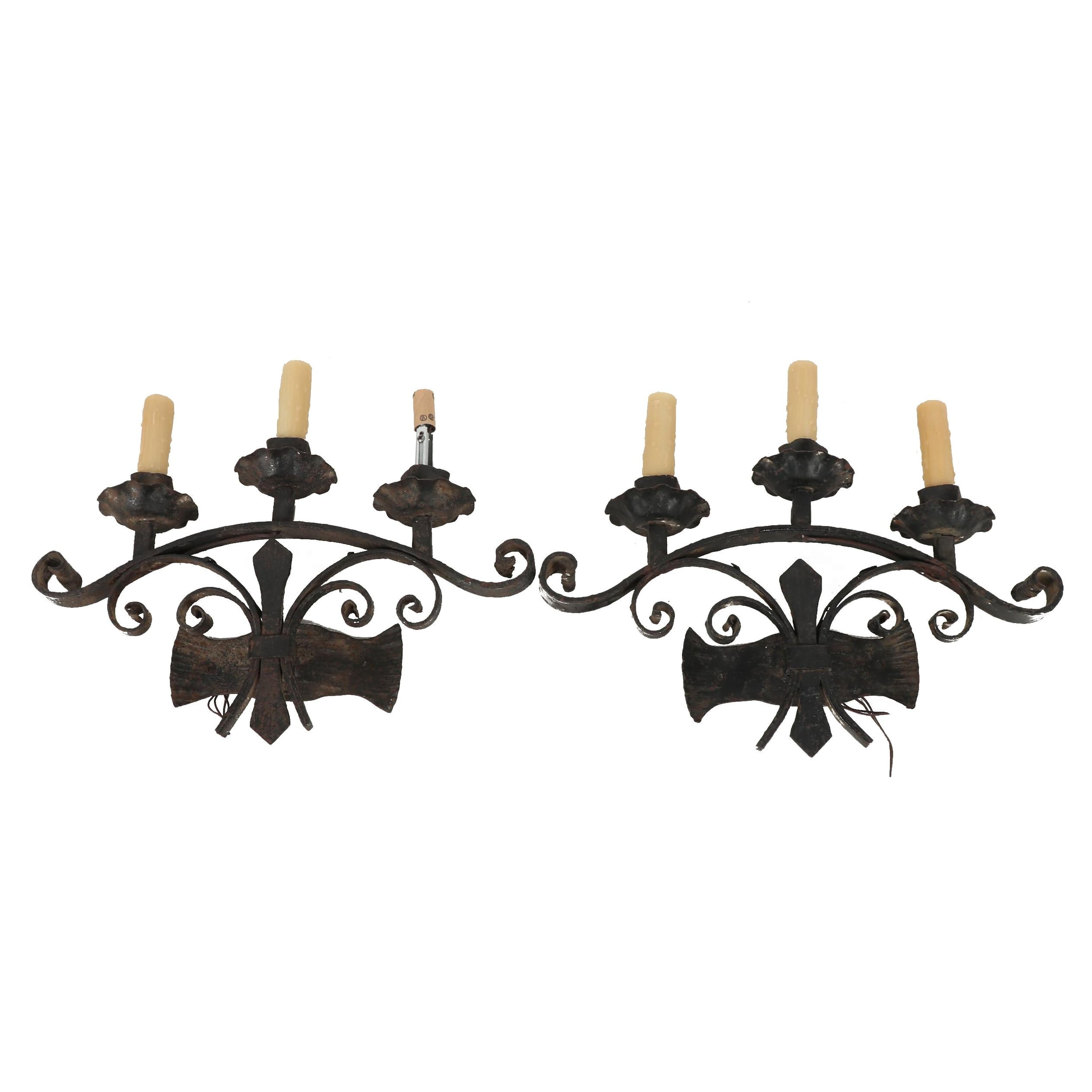 Wrought Iron Electrified Wall Sconces with Faux Candles