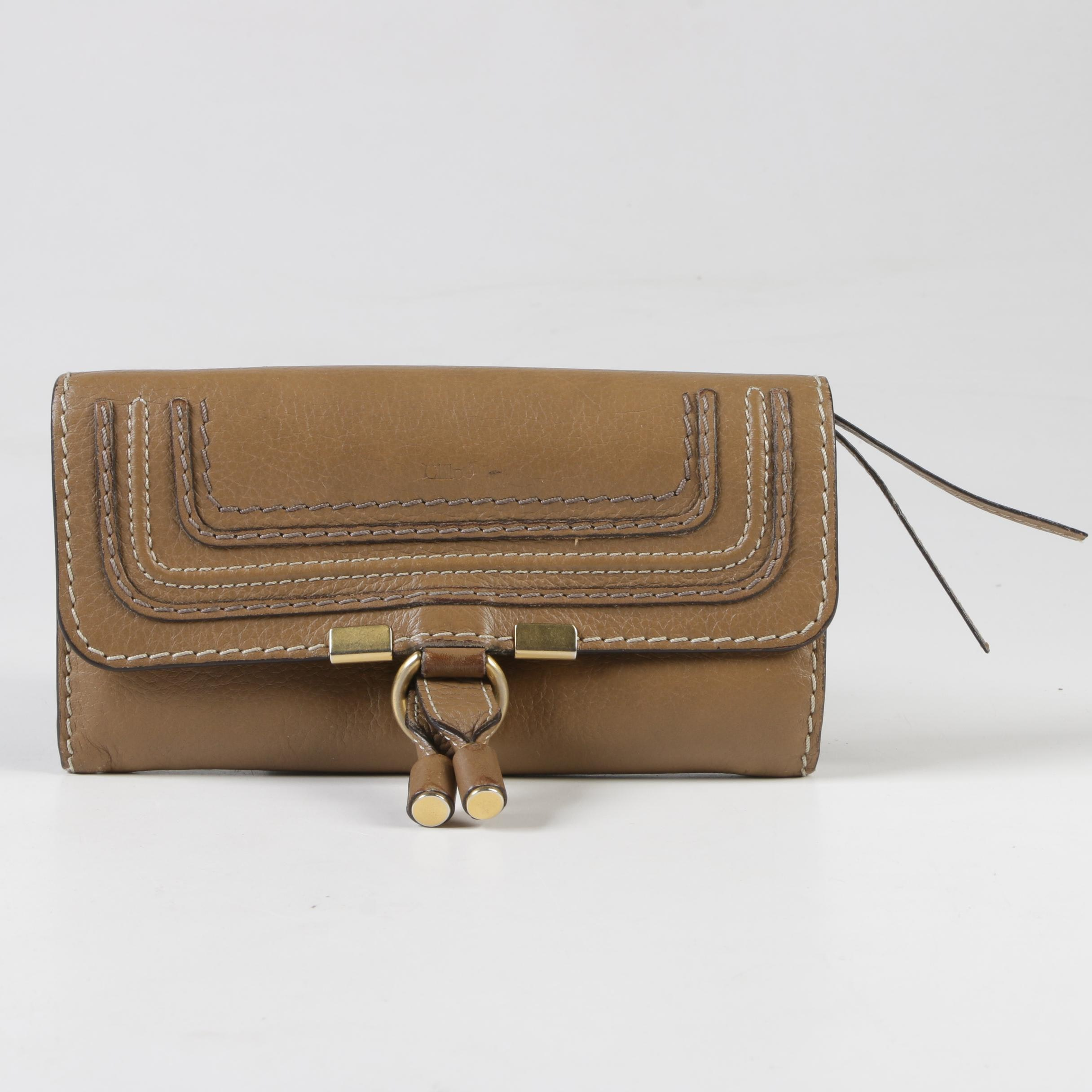 Chloé Nut Brown Leather Marcie Continental Flap Wallet