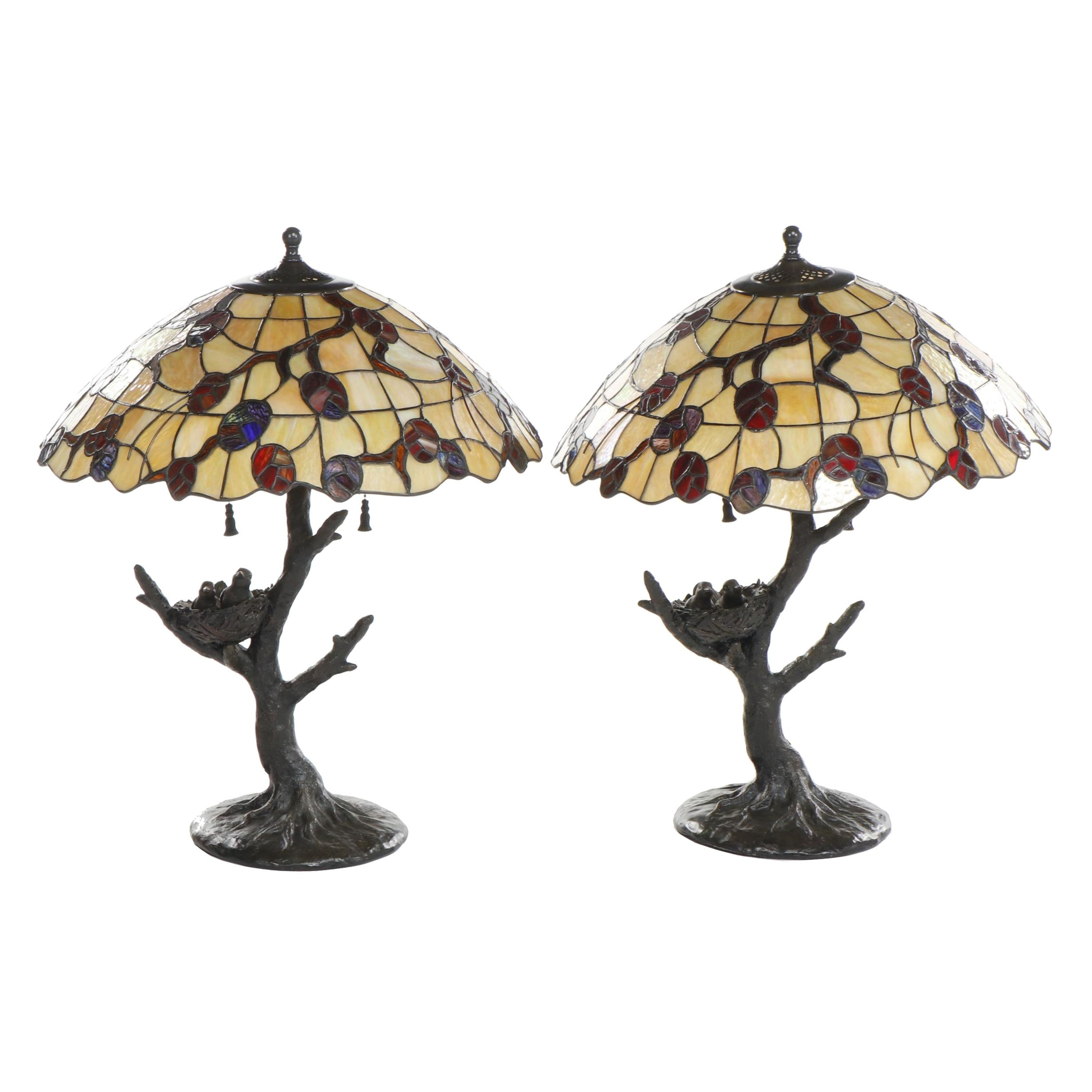 Metal Bird's Nest Tree Form Table Lamps with Slag and Stained Glass Shades