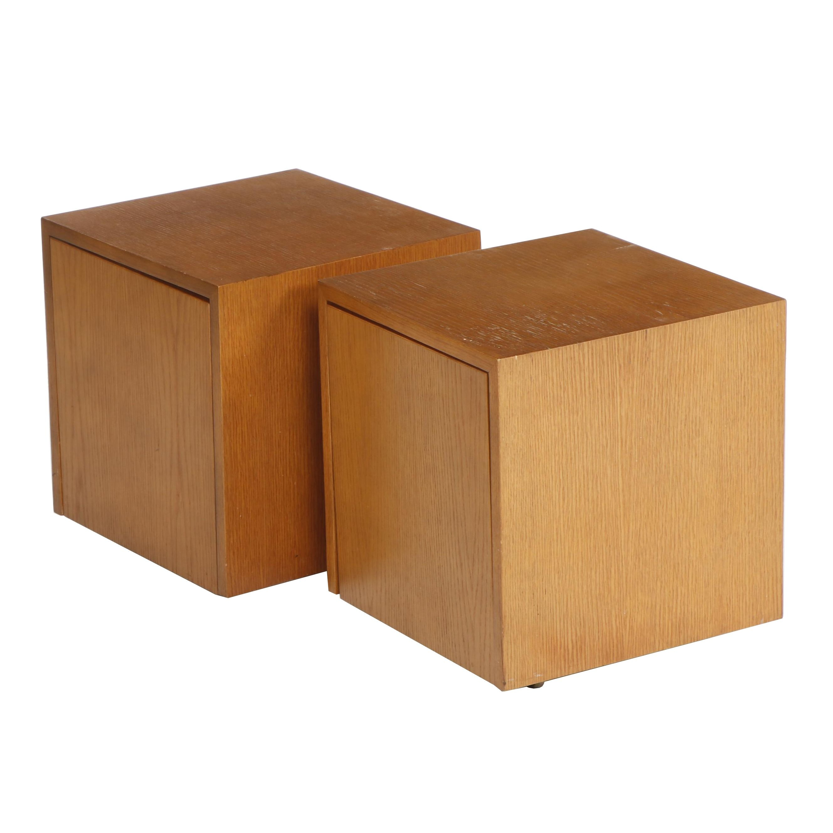 Elm Storage Side Tables on Casters with Adjustable Shelves