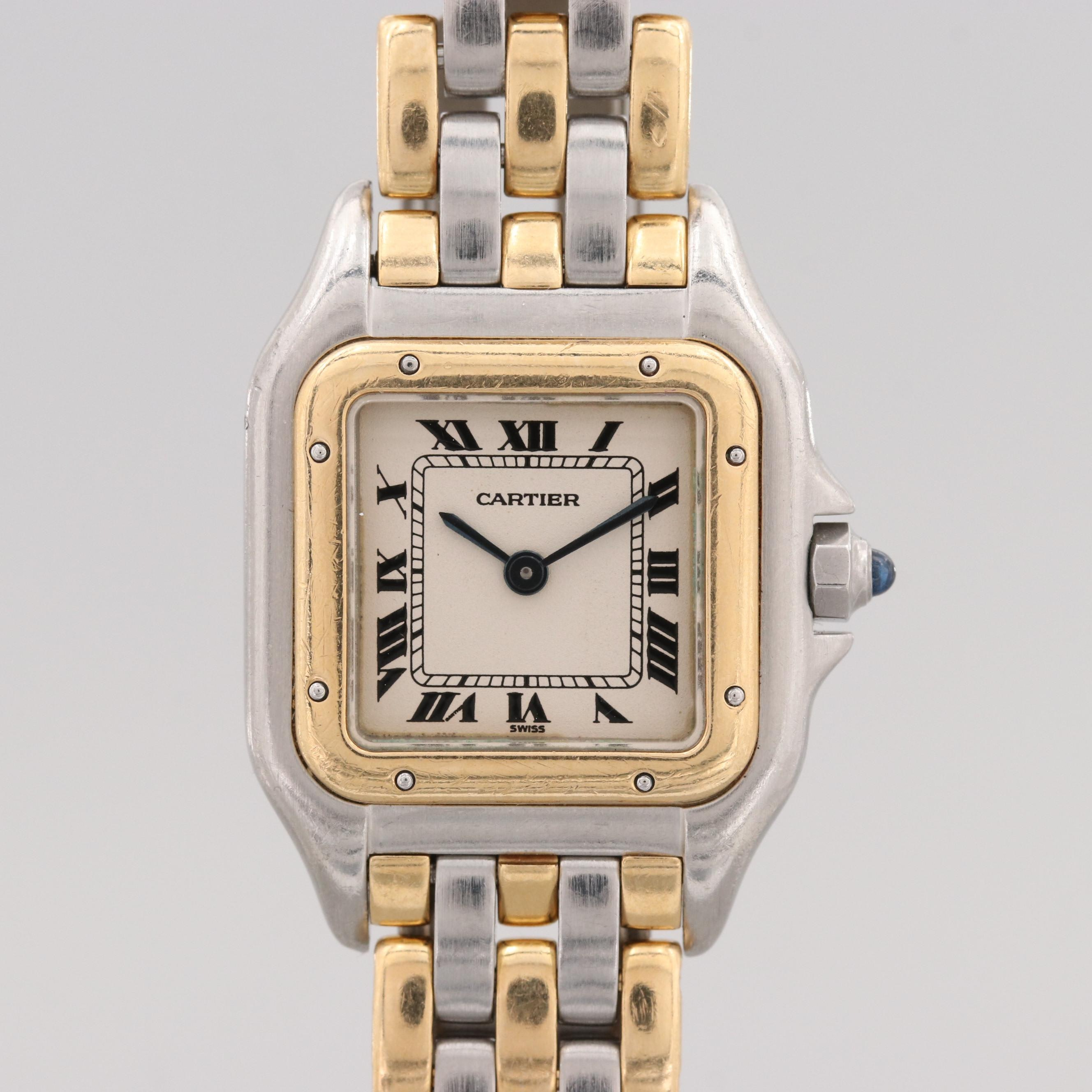 Cartier Panthere Stainless Steel and 18K Yellow Gold Quartz Wristwatch