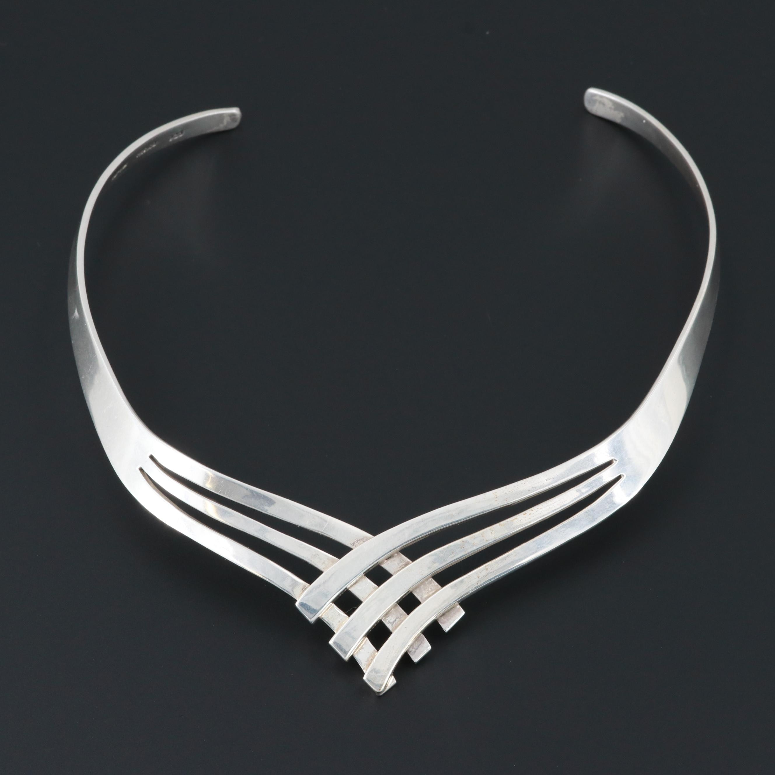 Mexican Sterling Silver Stiff Collar Necklace