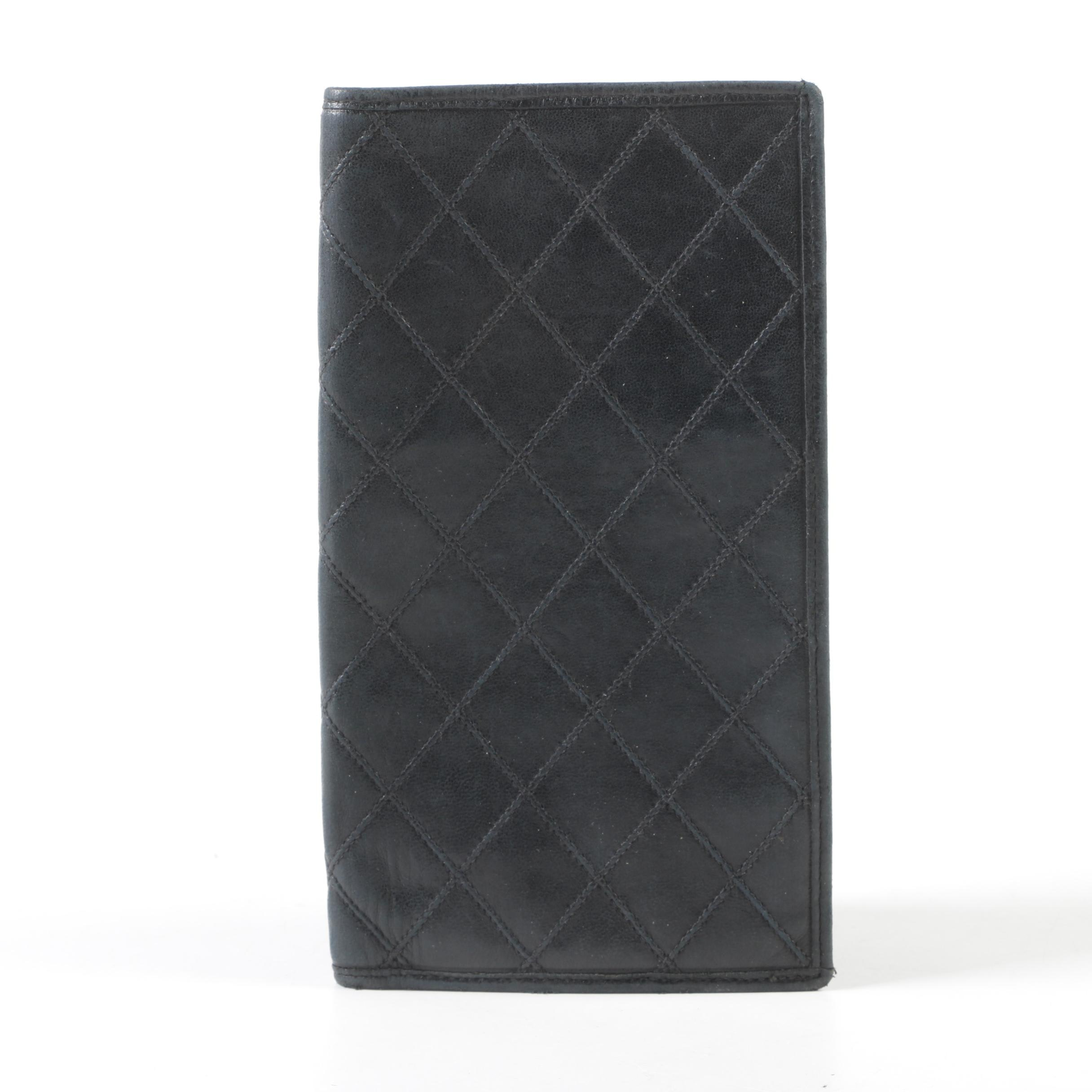 Chanel Black Quilted Lambskin Leather Long Bifold Wallet, Made in Italy