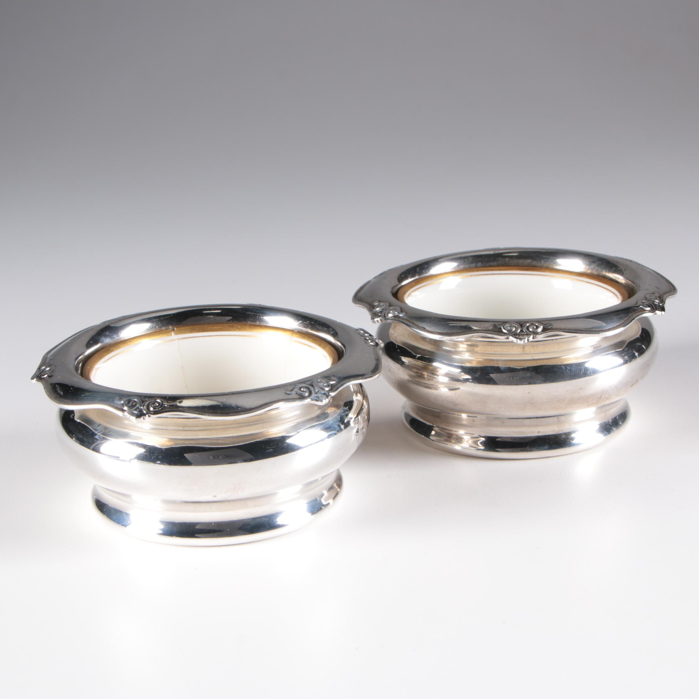 Shreve & Co. Sterling Silver Salt Cellars with Lenox Bone China Inserts