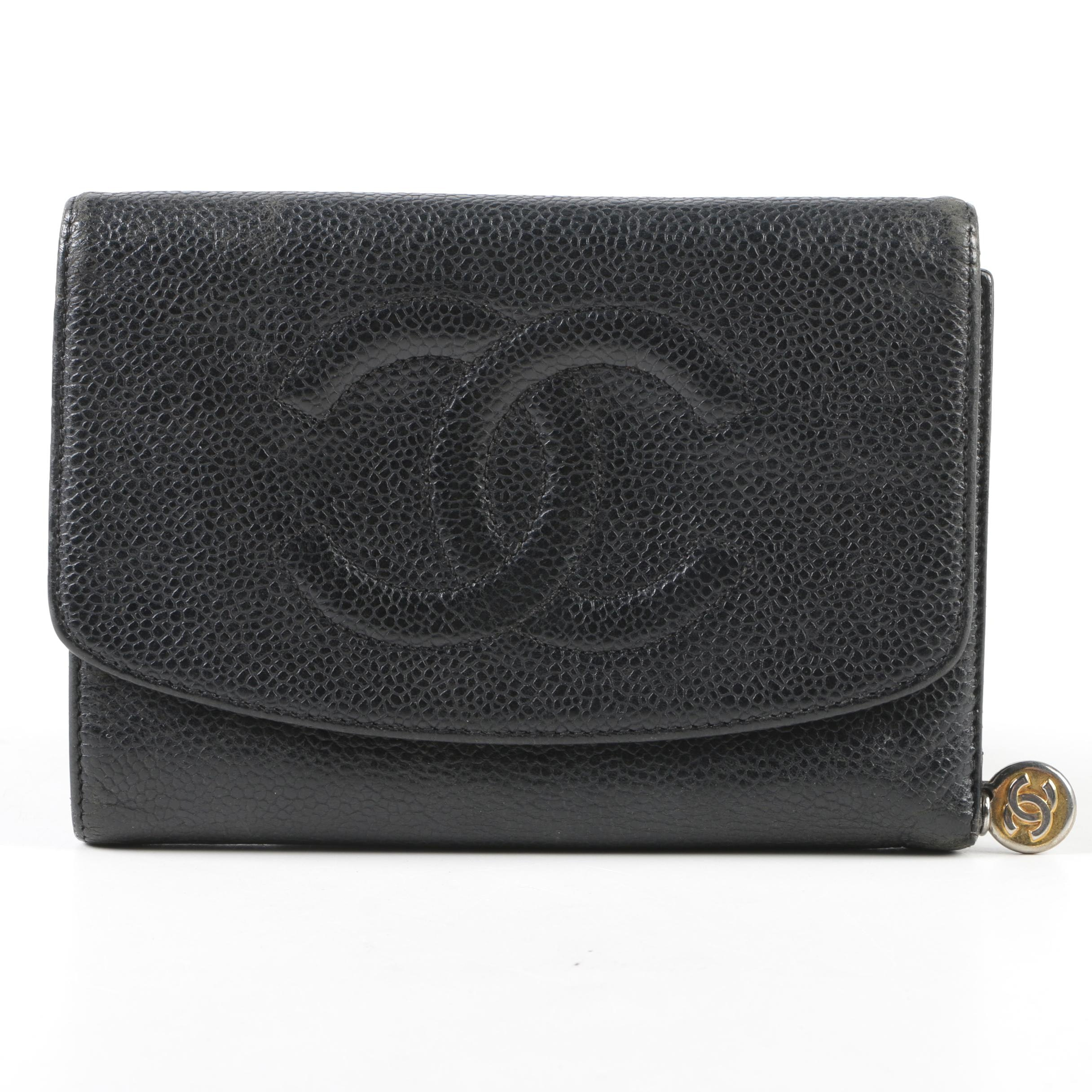 Chanel Black Caviar Leather CC Logo Trifold French Wallet