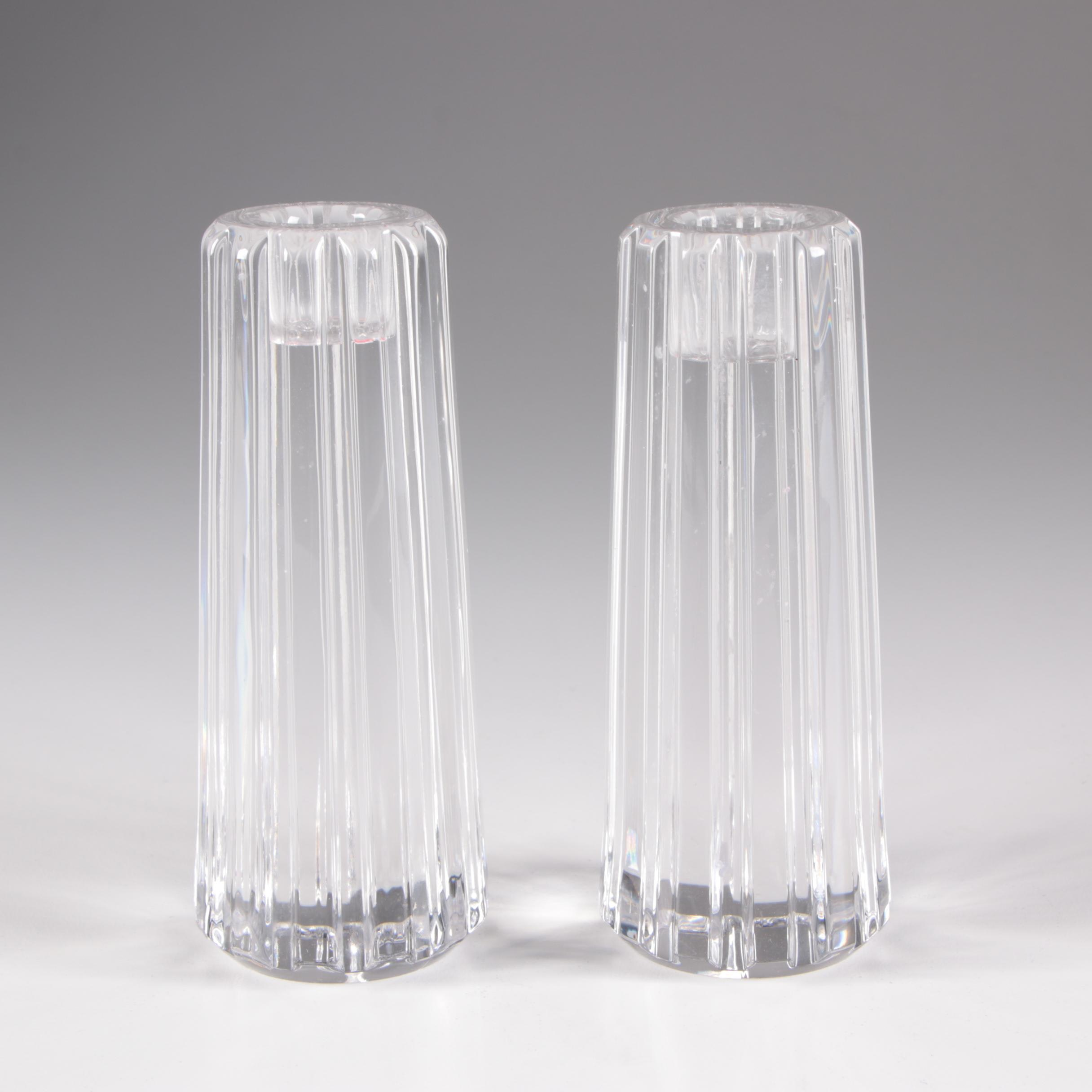 "Tiffany & Co. ""Atlas"" Crystal Single Light Candlesticks"