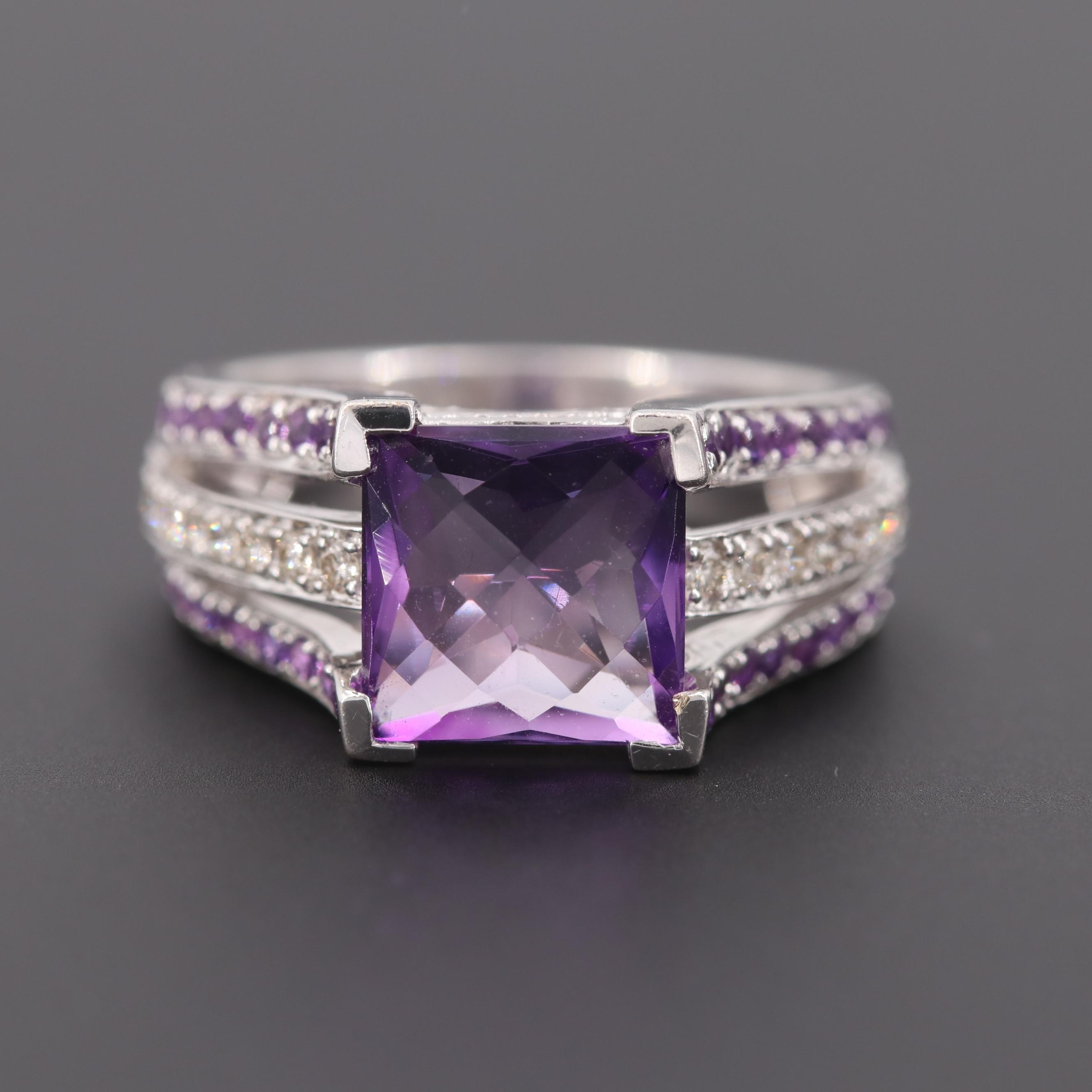 Le Vian 14K White Gold Amethyst and Diamond Ring