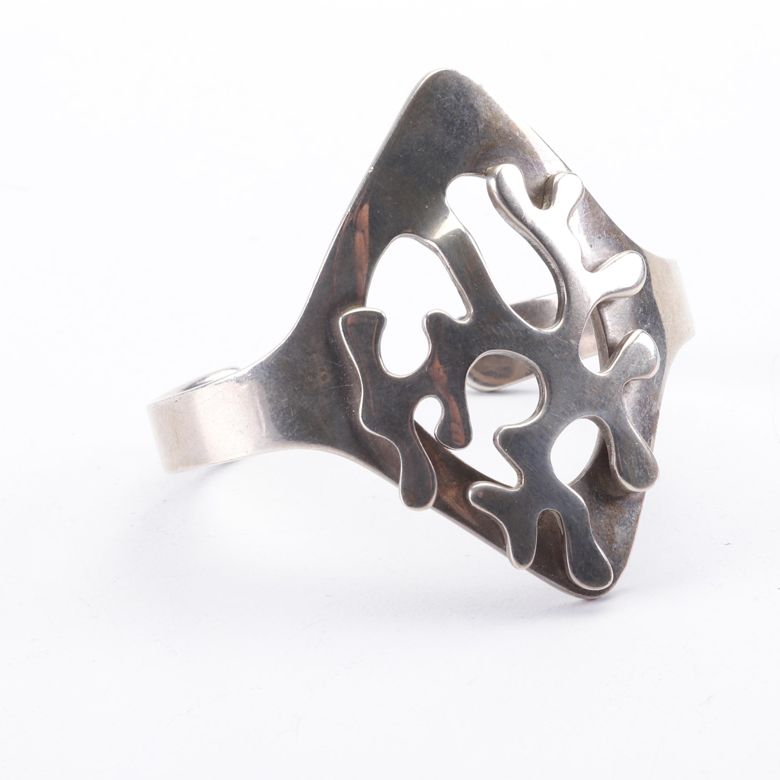 Taxco Sterling Silver Coral Shape Cuff