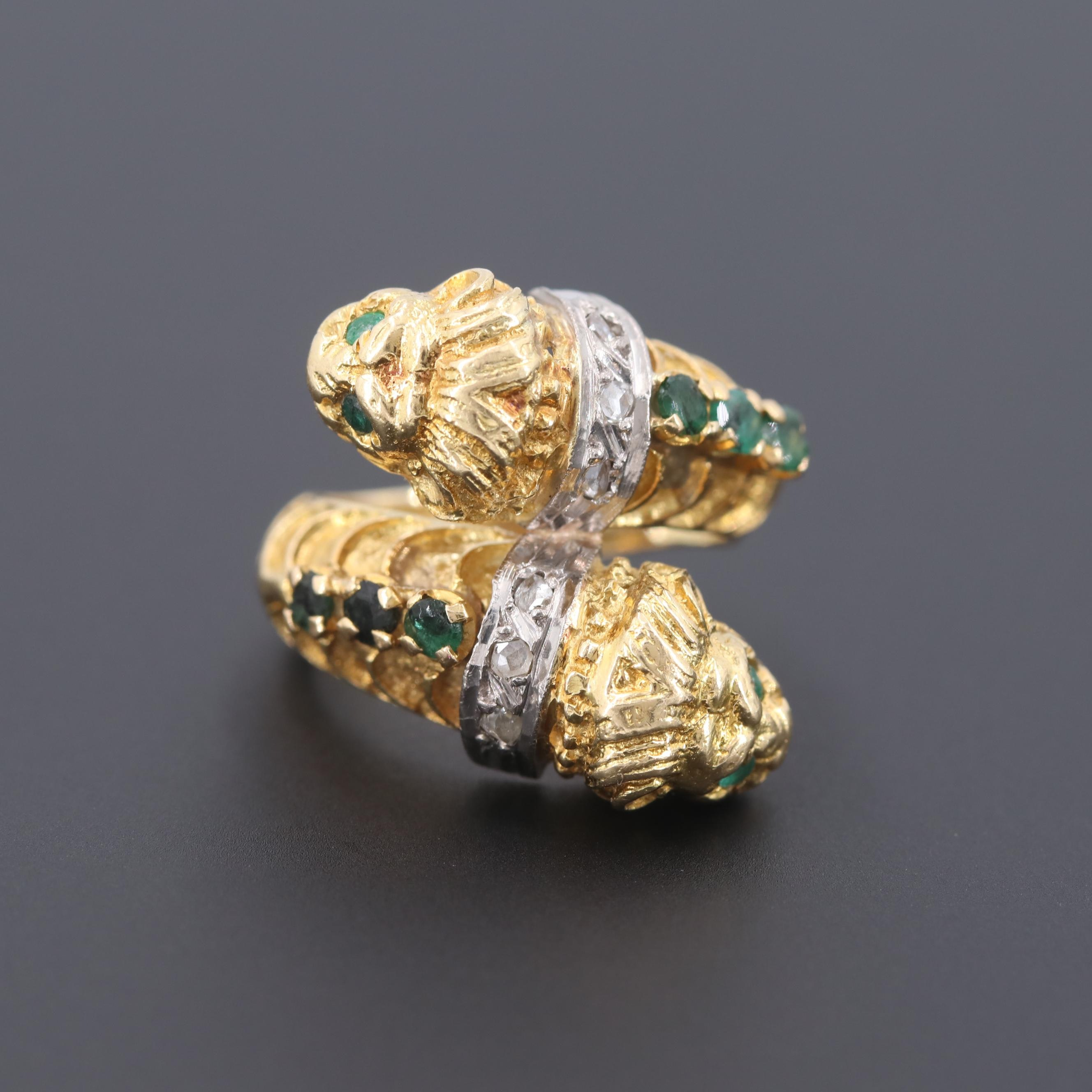 Vintage 18K Yellow Gold Emerald and Diamond Double Lion Head Bypass Ring
