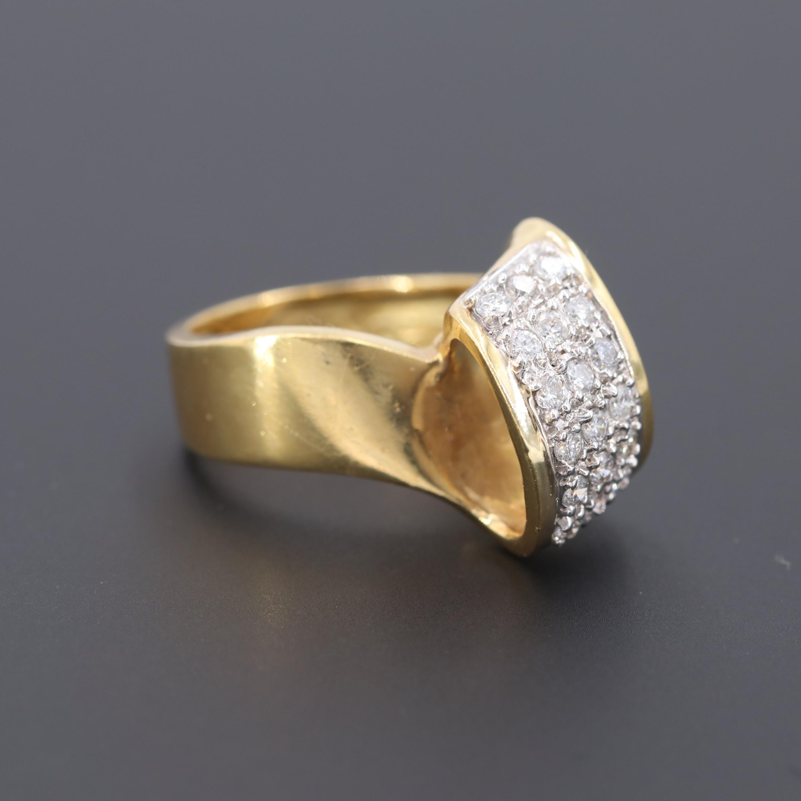 18K Yellow Gold Diamond Ring with 14K White Gold Setting