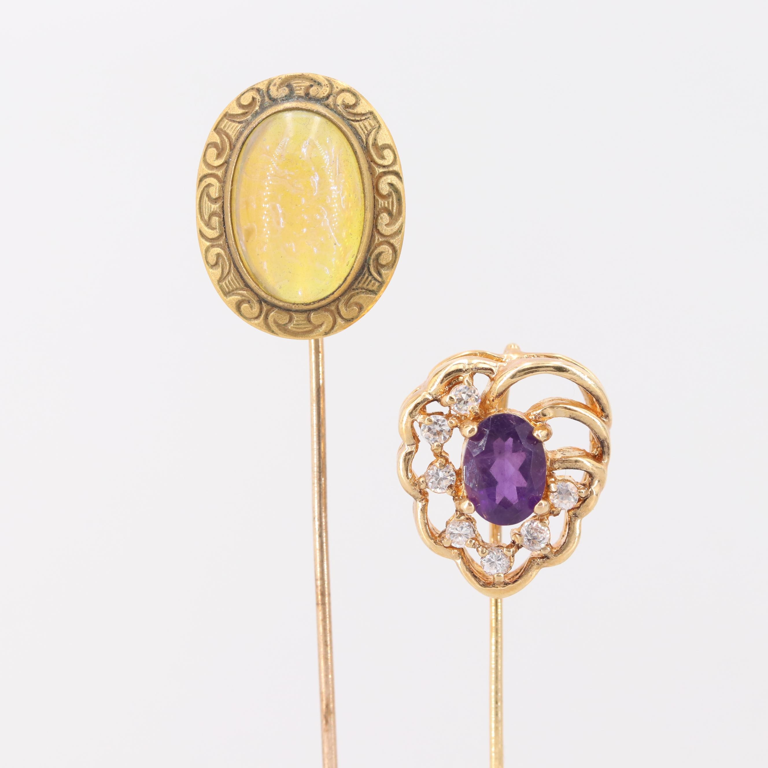 Vintage Gold Tone Amethyst, Cubic Zirconia, and Foilback Glass Stick Pins