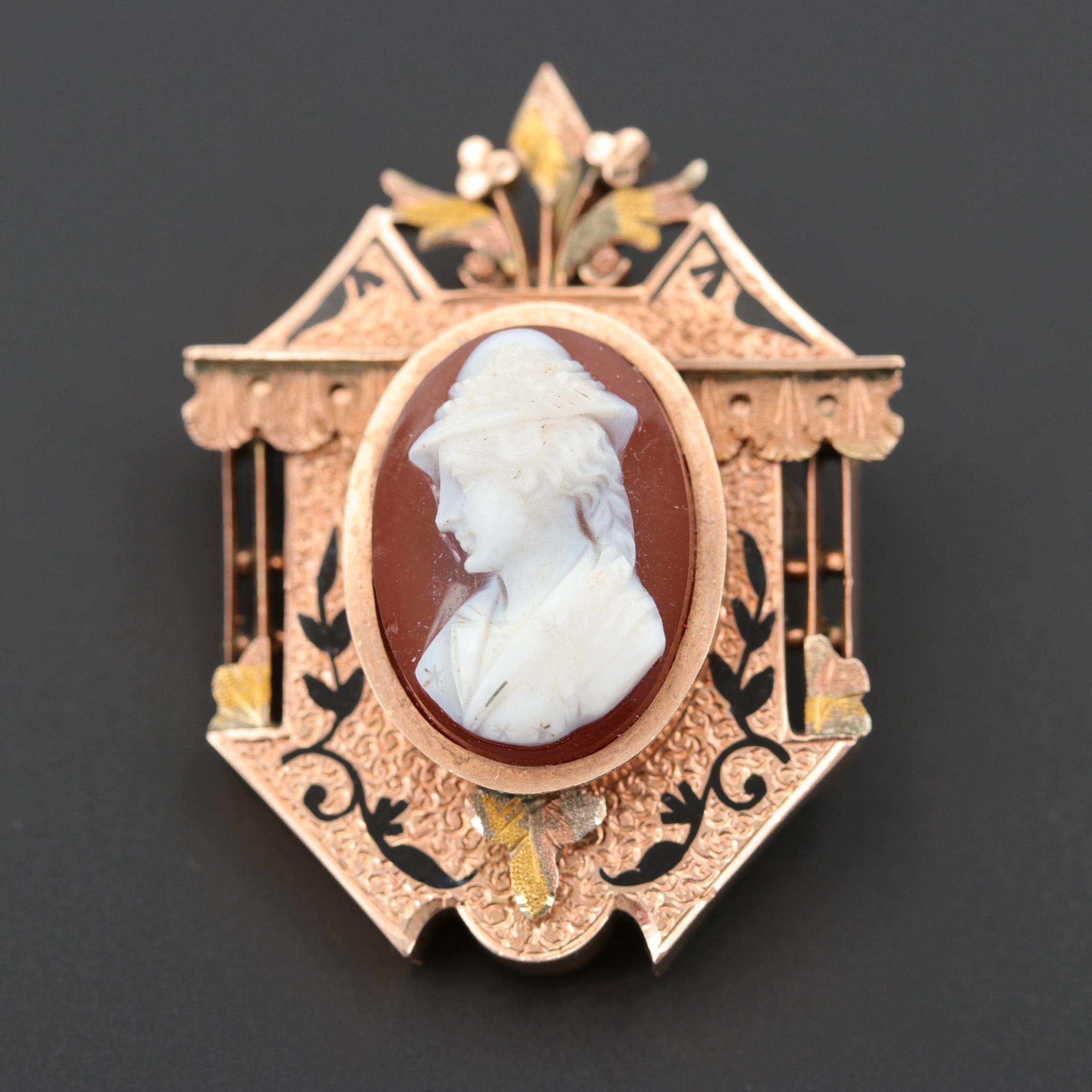 Victorian 14K Rose Gold Carved Sardonyx Cameo Converter Brooch
