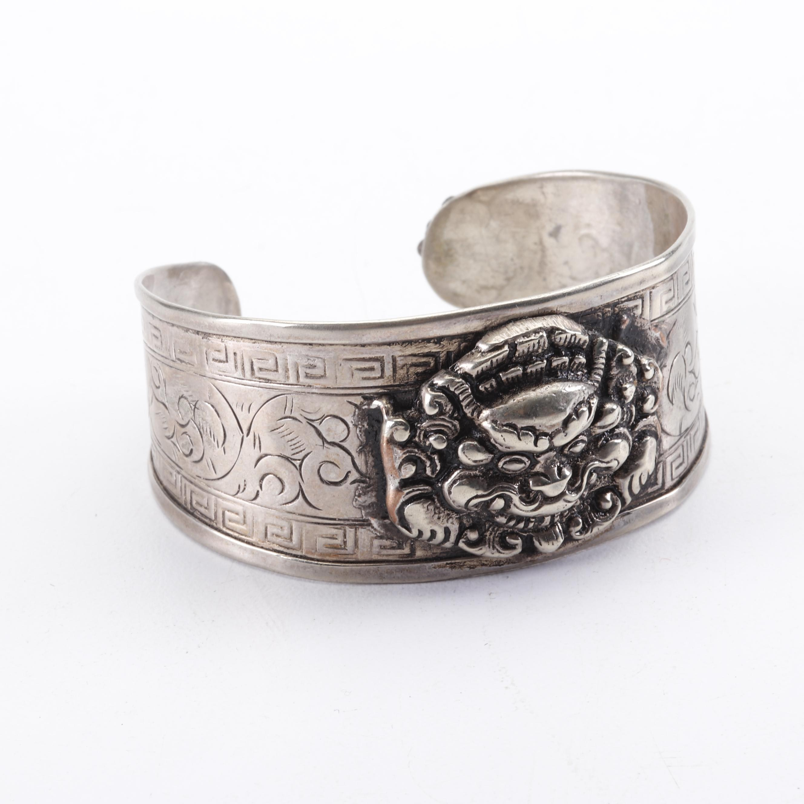 Chinese Silver Cuff Bracelet with Guardian Lion