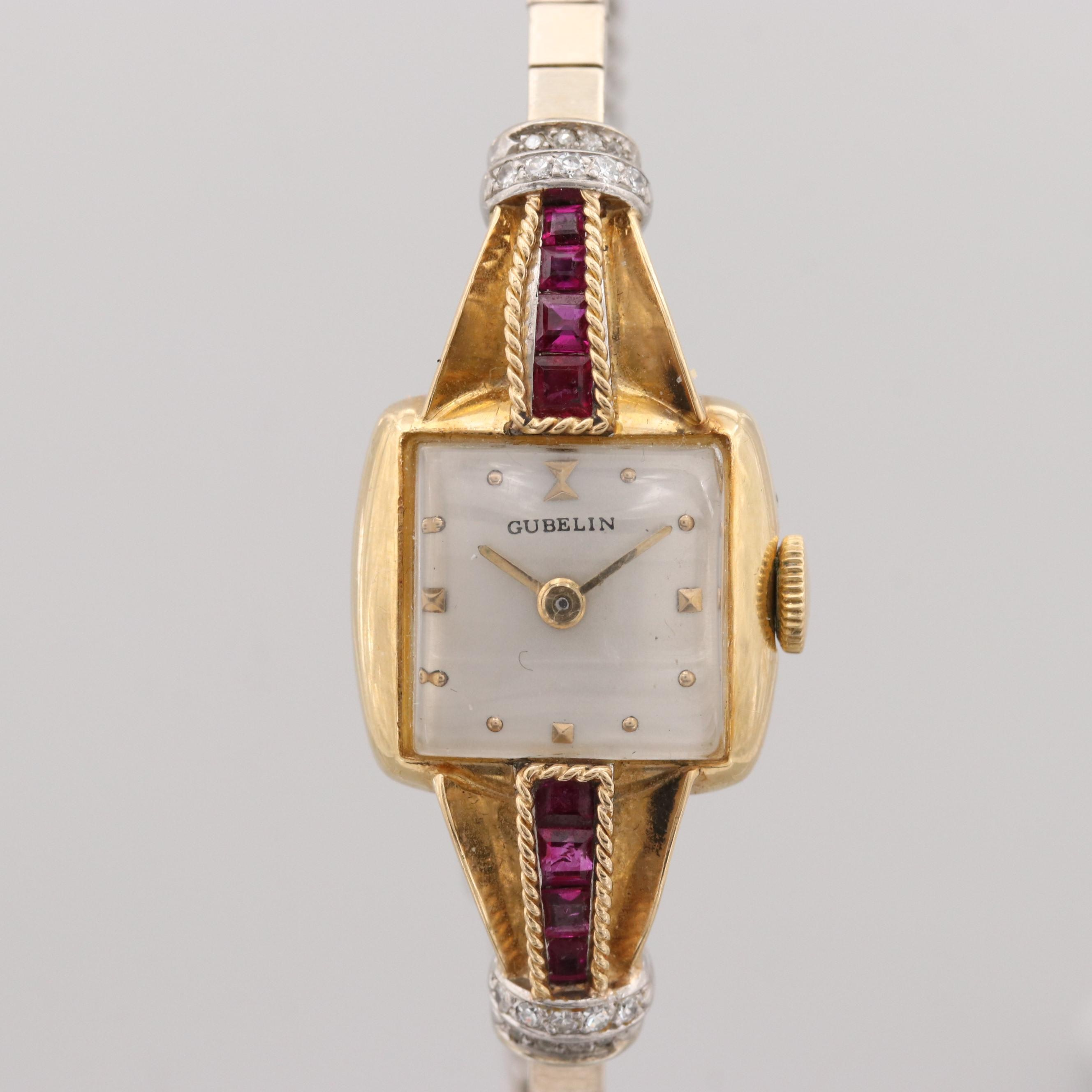 Vintage Gubelin 18K Yellow and 14K White Gold Diamond and Ruby Wristwatch